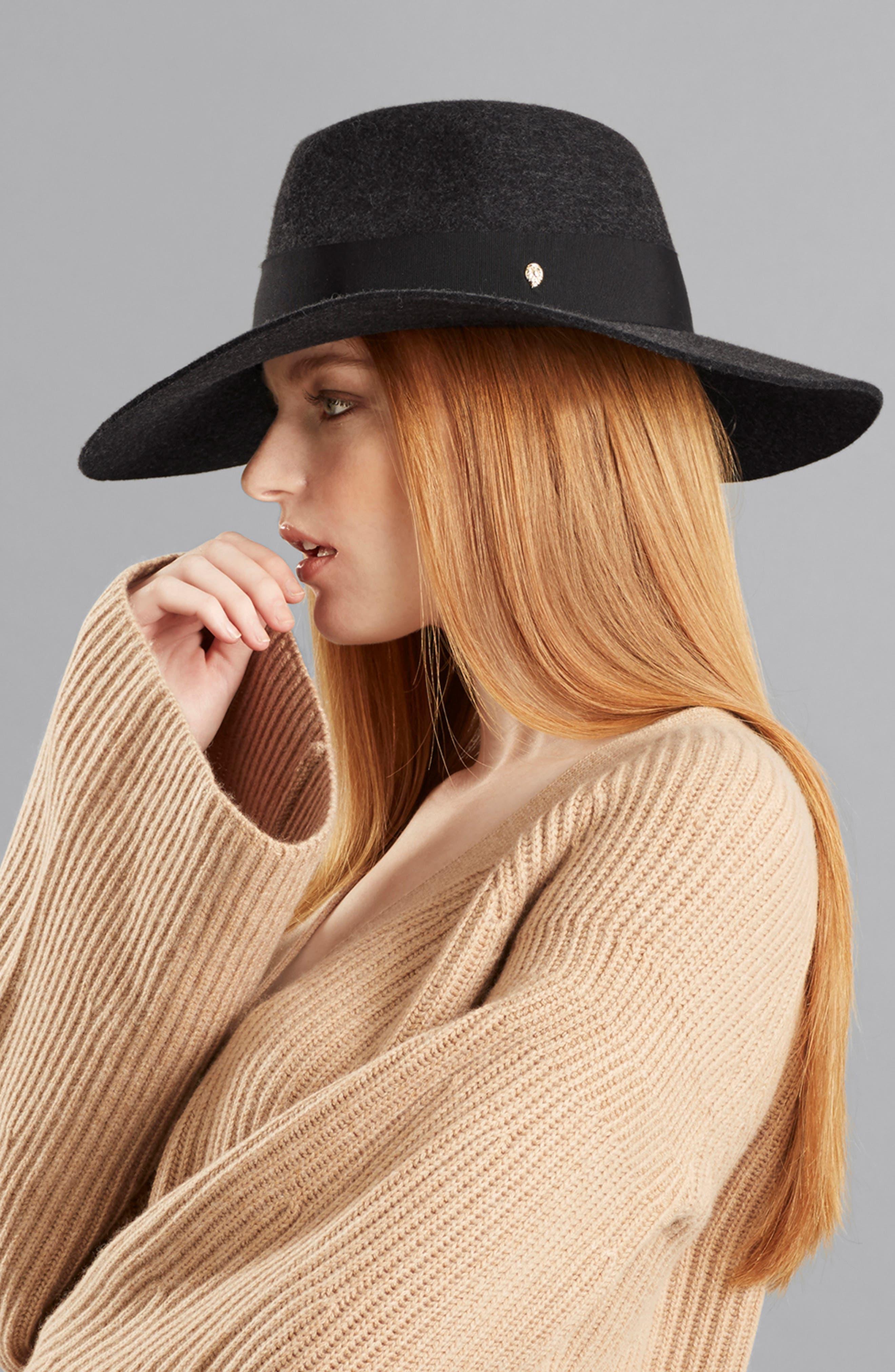 Western Wool Fedora,                             Alternate thumbnail 3, color,                             KNIGHT MELANGE/ BLACK