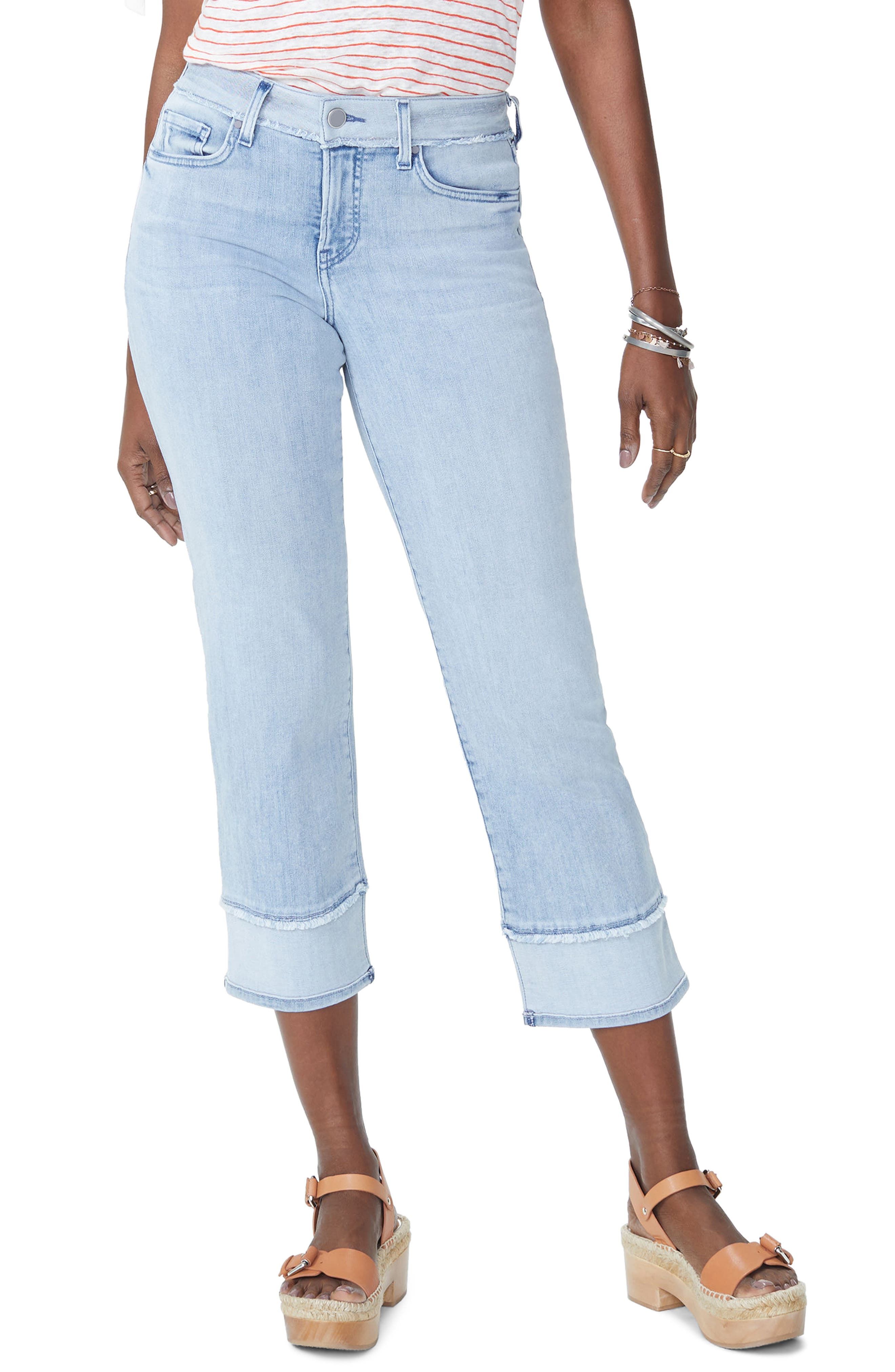 Jenna High Waist Straight Leg Reverse Fray Ankle Jeans,                             Main thumbnail 1, color,                             421