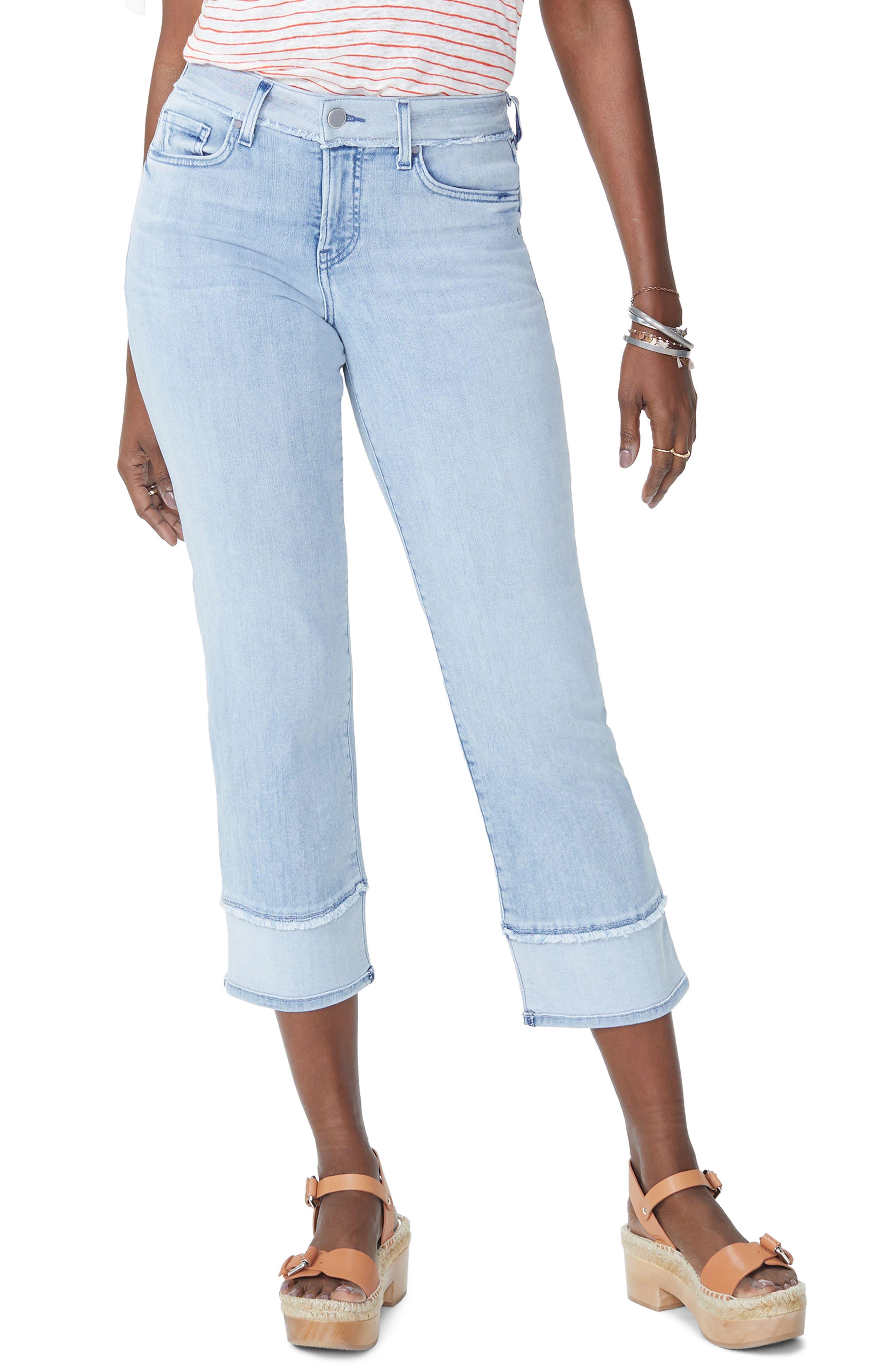 NYDJ Jenna High Waist Straight Leg Reverse Fray Ankle Jeans, Main, color, 421