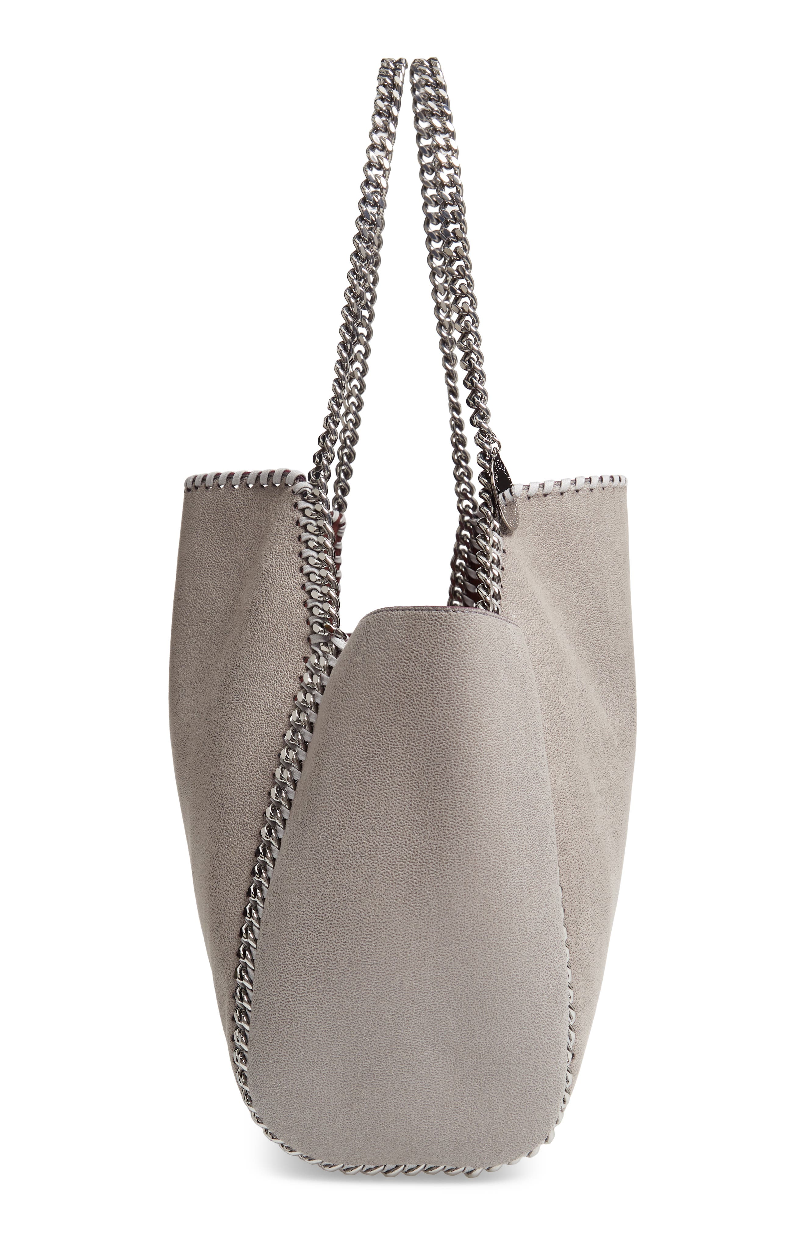 Small Oleo Deer Reversible Faux Leather Tote,                             Alternate thumbnail 6, color,                             LIGHT GREY