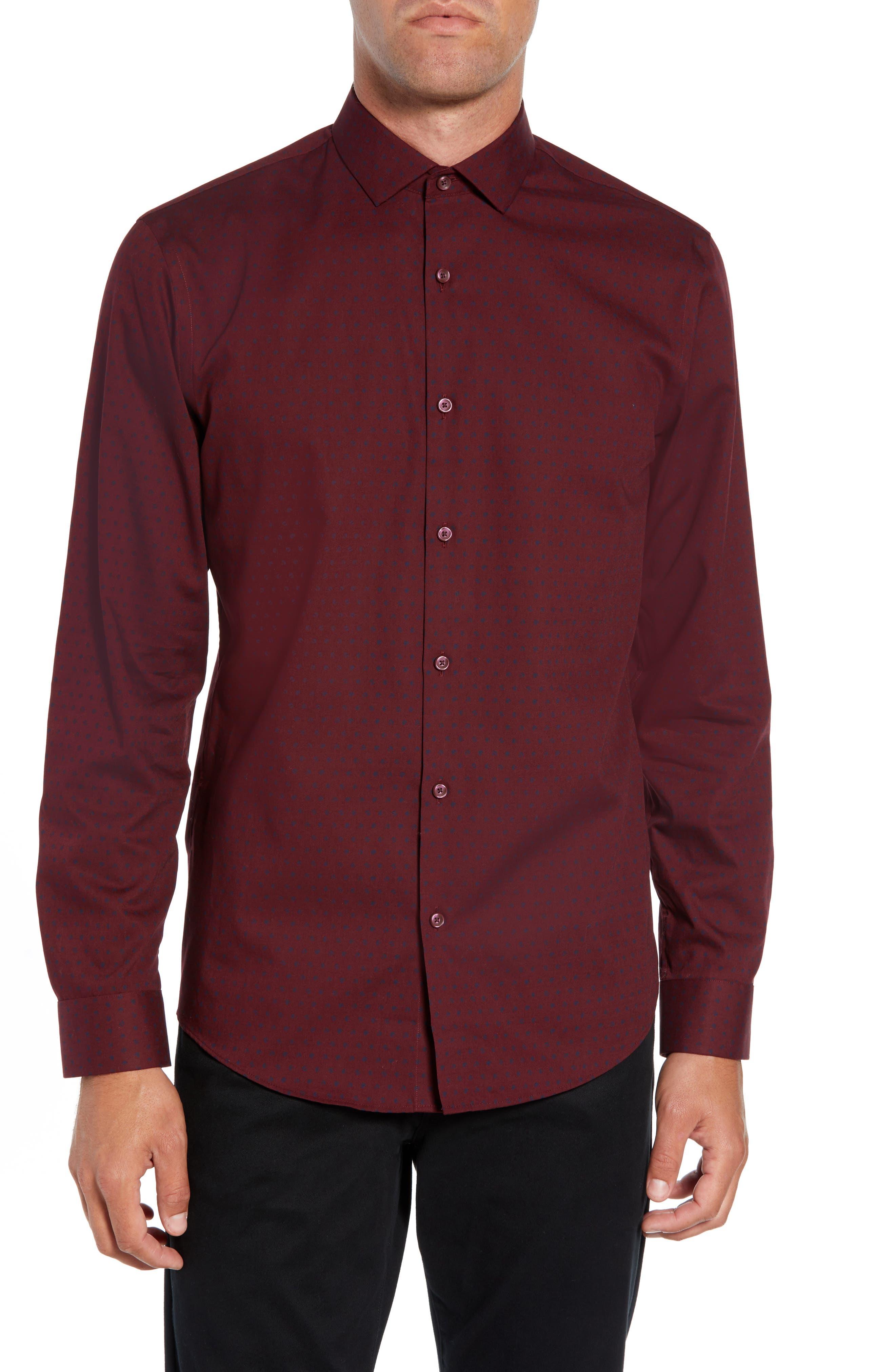 Slim Fit Non Iron Polka Dot Sport Shirt,                             Main thumbnail 1, color,                             BURGUNDY ROYALE NAVY DOT