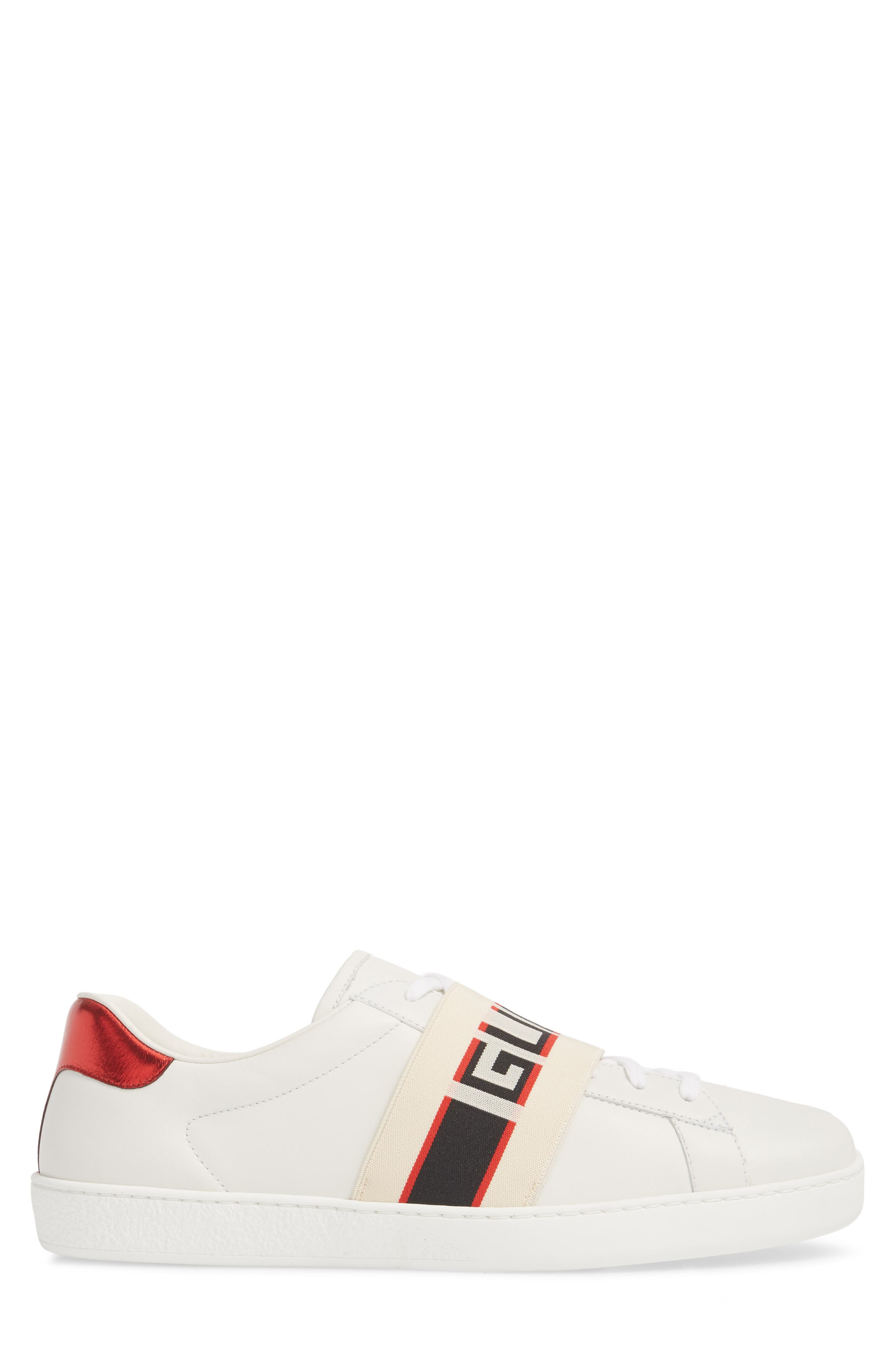 New Ace Stripe Leather Sneaker,                             Alternate thumbnail 3, color,                             BIANCO/ WHITE FLAME