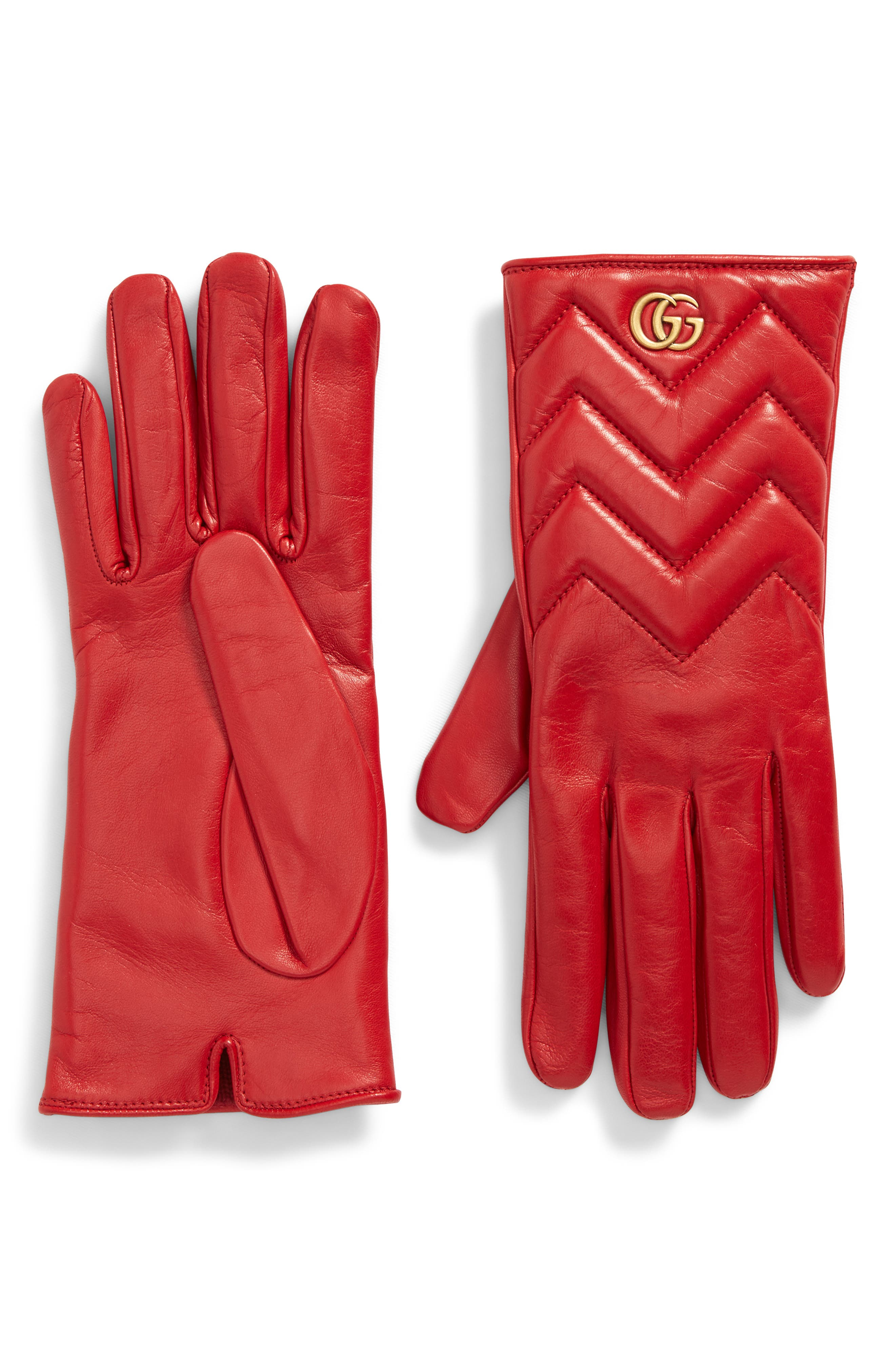 Gucci Gg Marmont Cashmere Lined Leather Gloves - Red