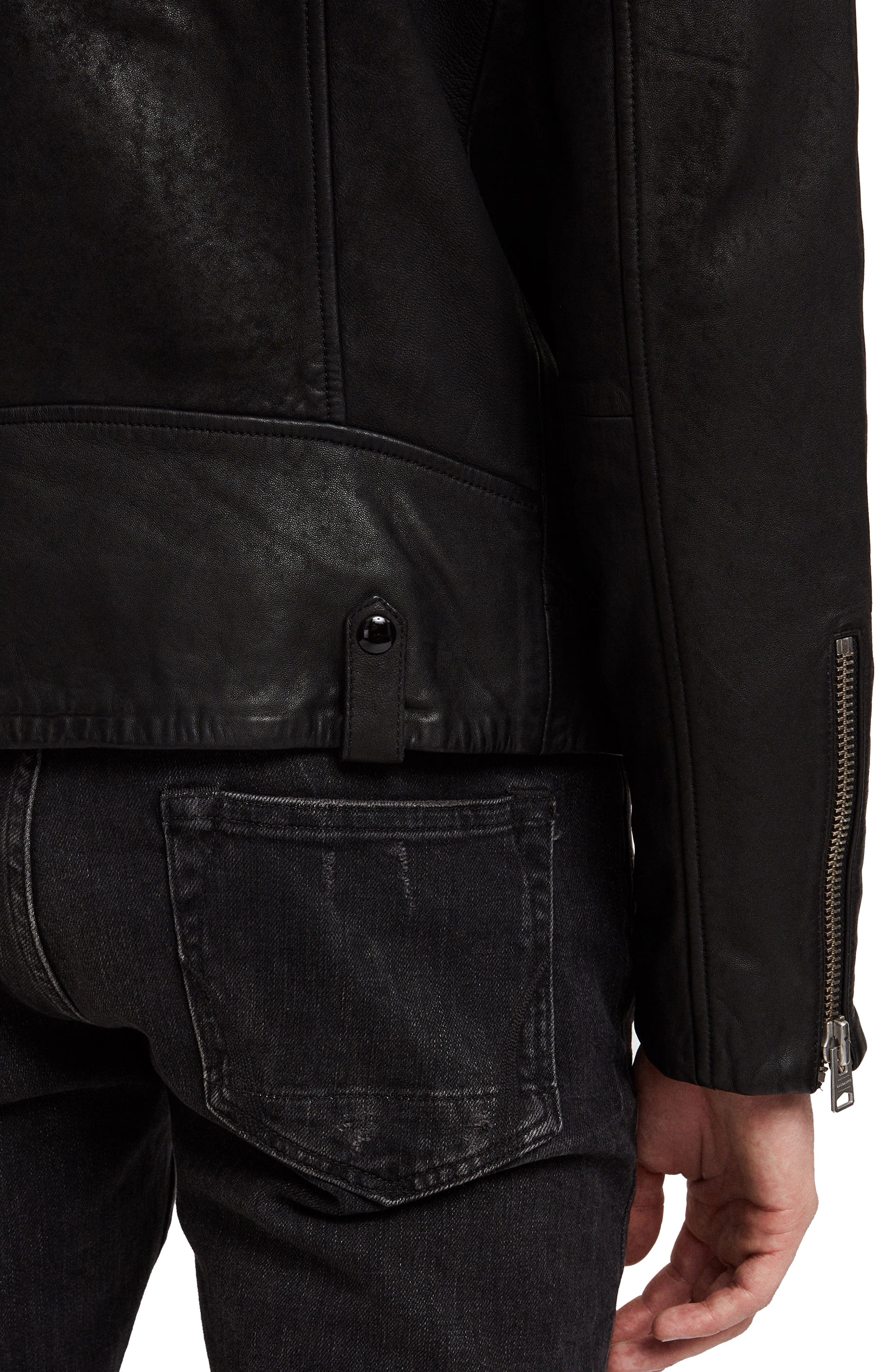 Hanoi Regular Fit Genuine Lambskin Shearling Trim Leather Biker Jacket,                             Alternate thumbnail 6, color,                             001