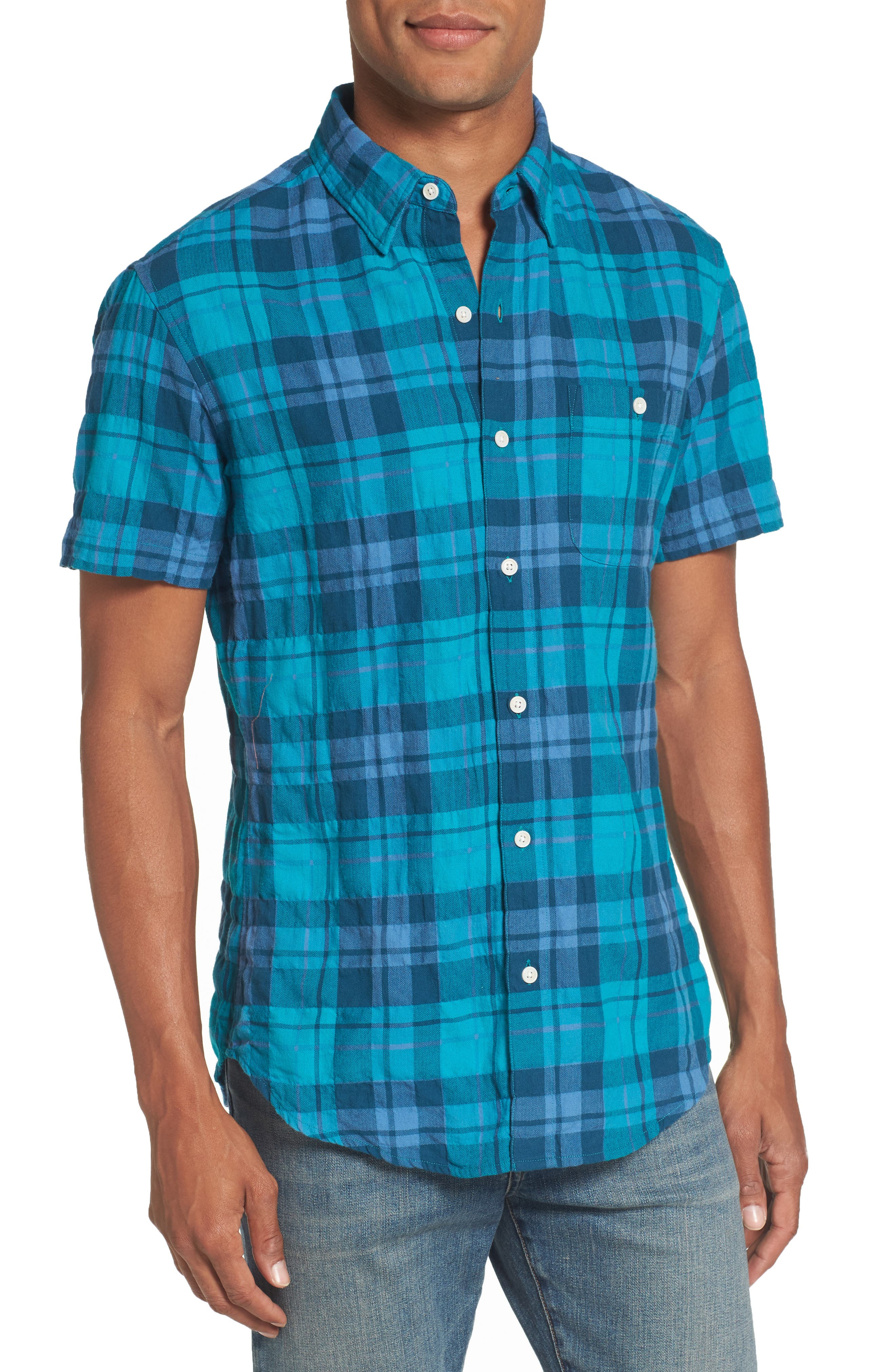 Riveria Slim Fit Check Woven Shirt,                             Main thumbnail 1, color,