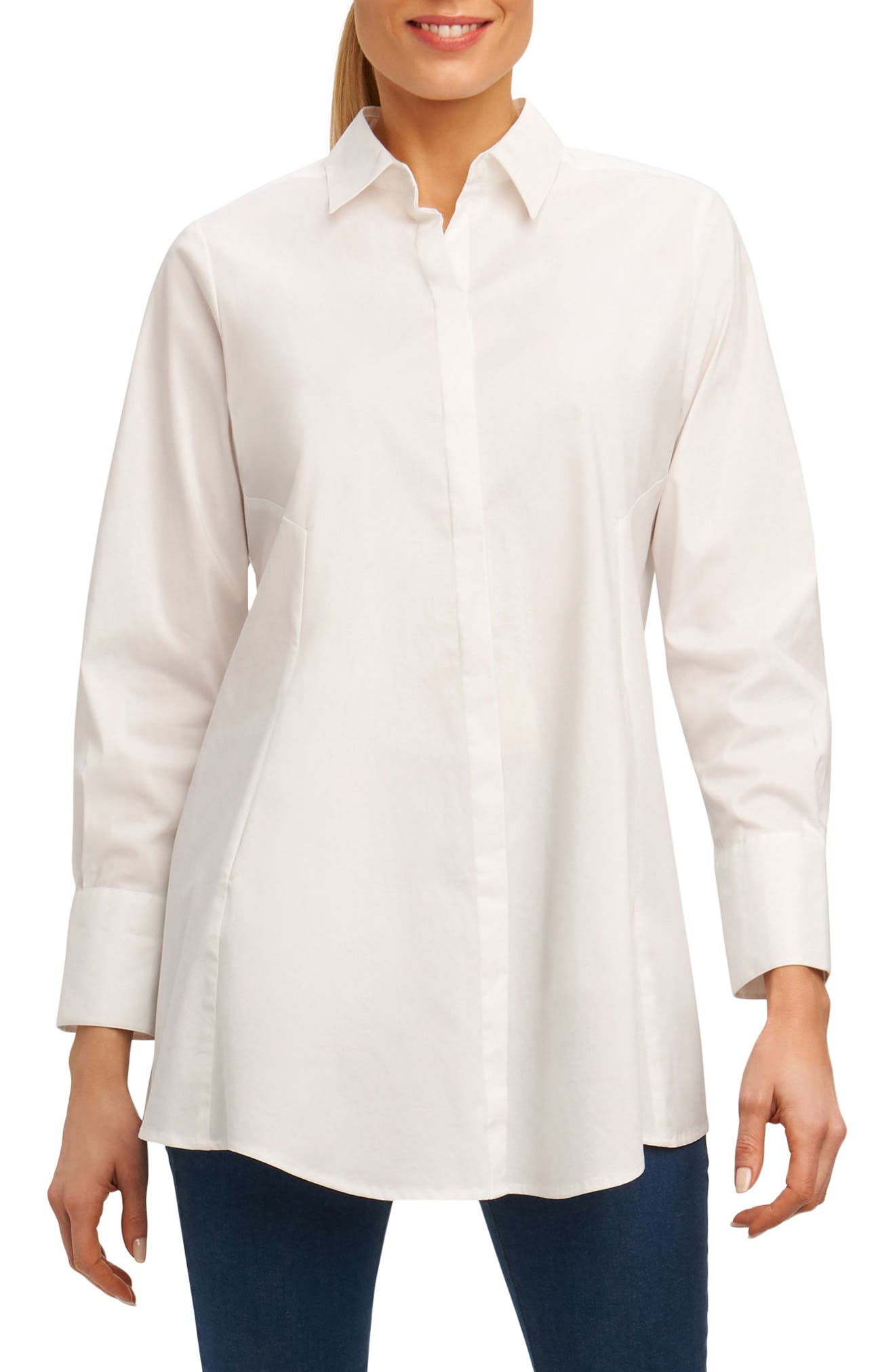 Cici Stretch Tunic Shirt,                         Main,                         color, 100