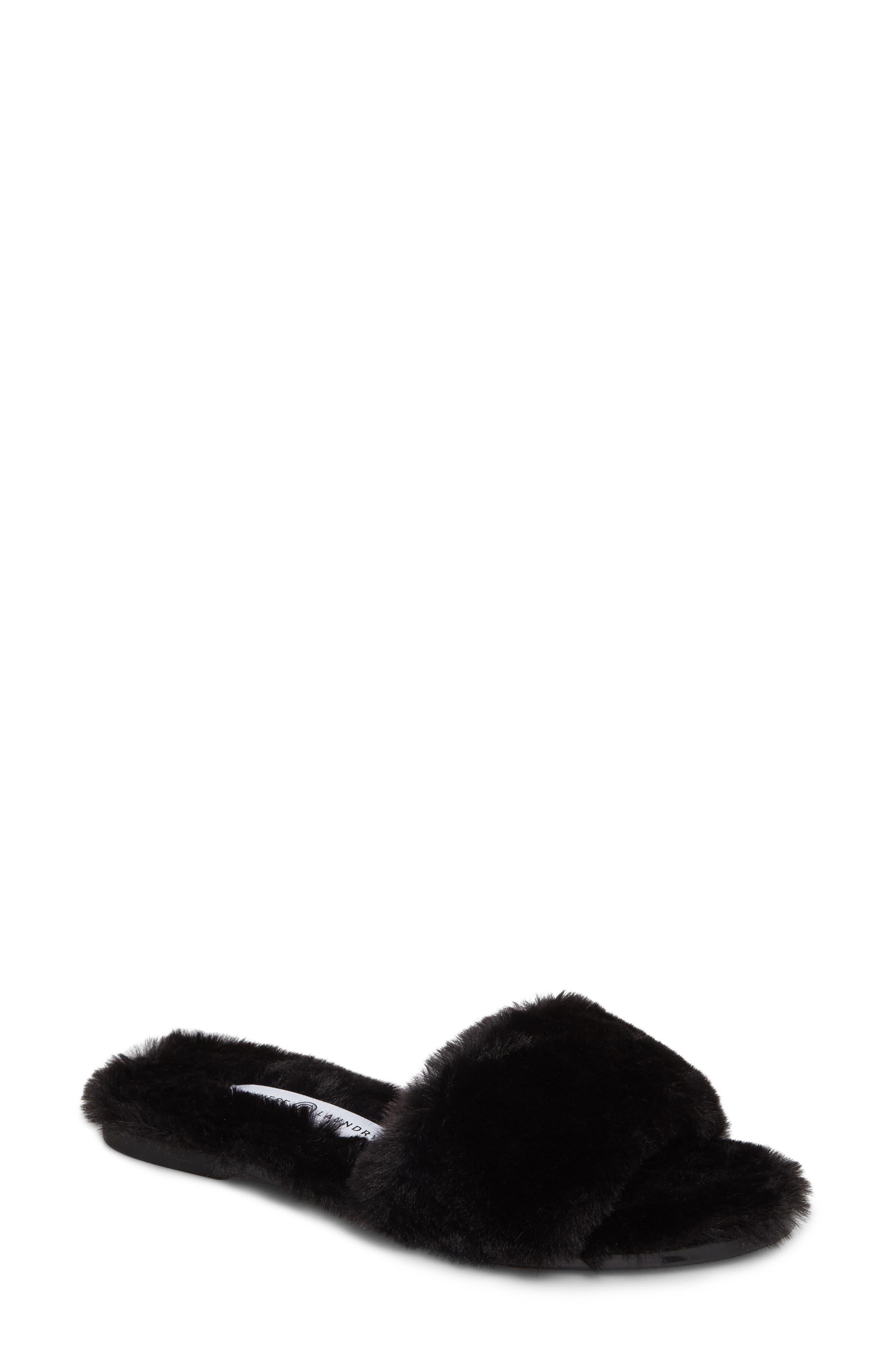 Mulholland Faux Fur Slide Sandal,                             Main thumbnail 1, color,                             001