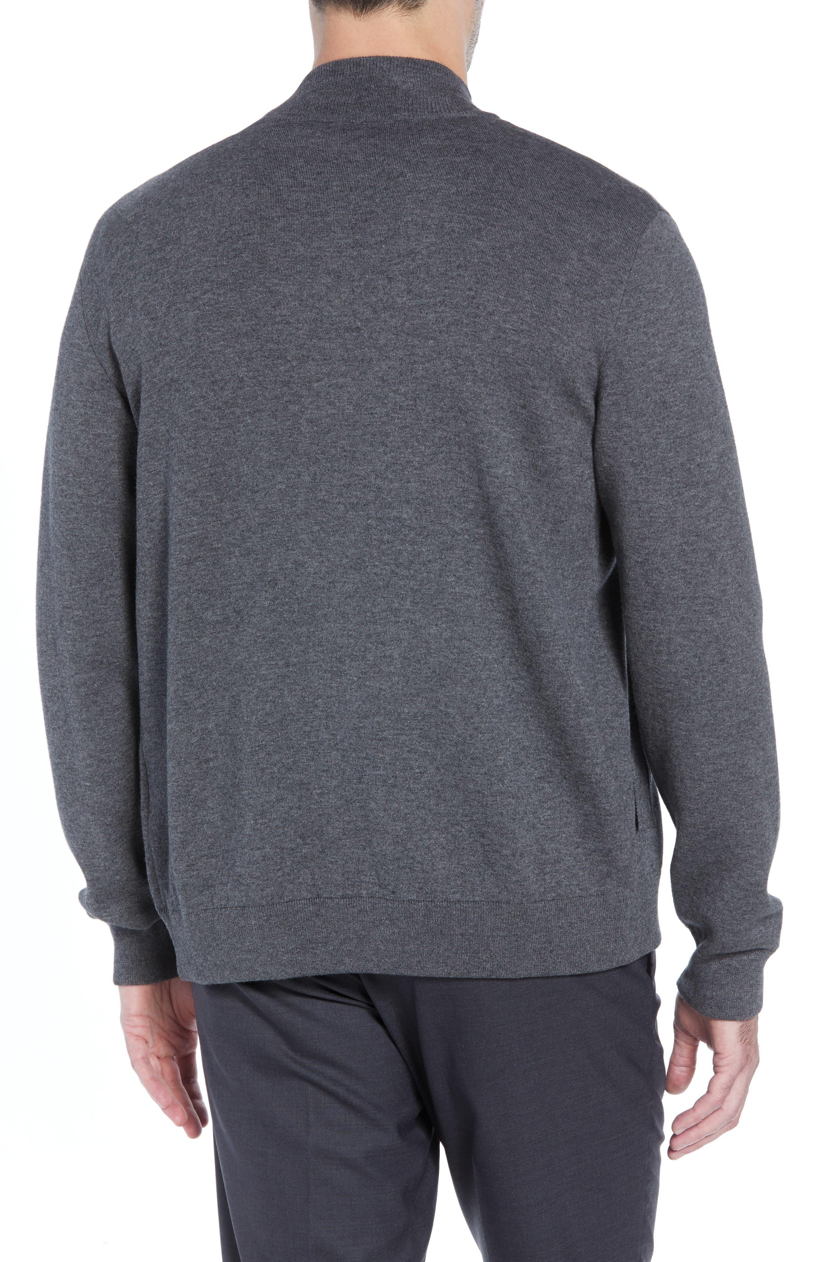 Cotton Blend Zip Cardigan,                             Alternate thumbnail 2, color,                             GREY
