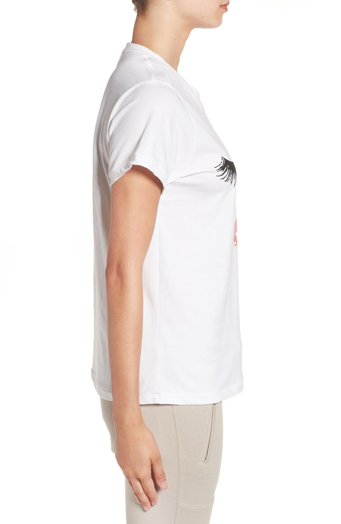 'Lips & Lashes' Graphic Tee,                             Alternate thumbnail 4, color,                             100