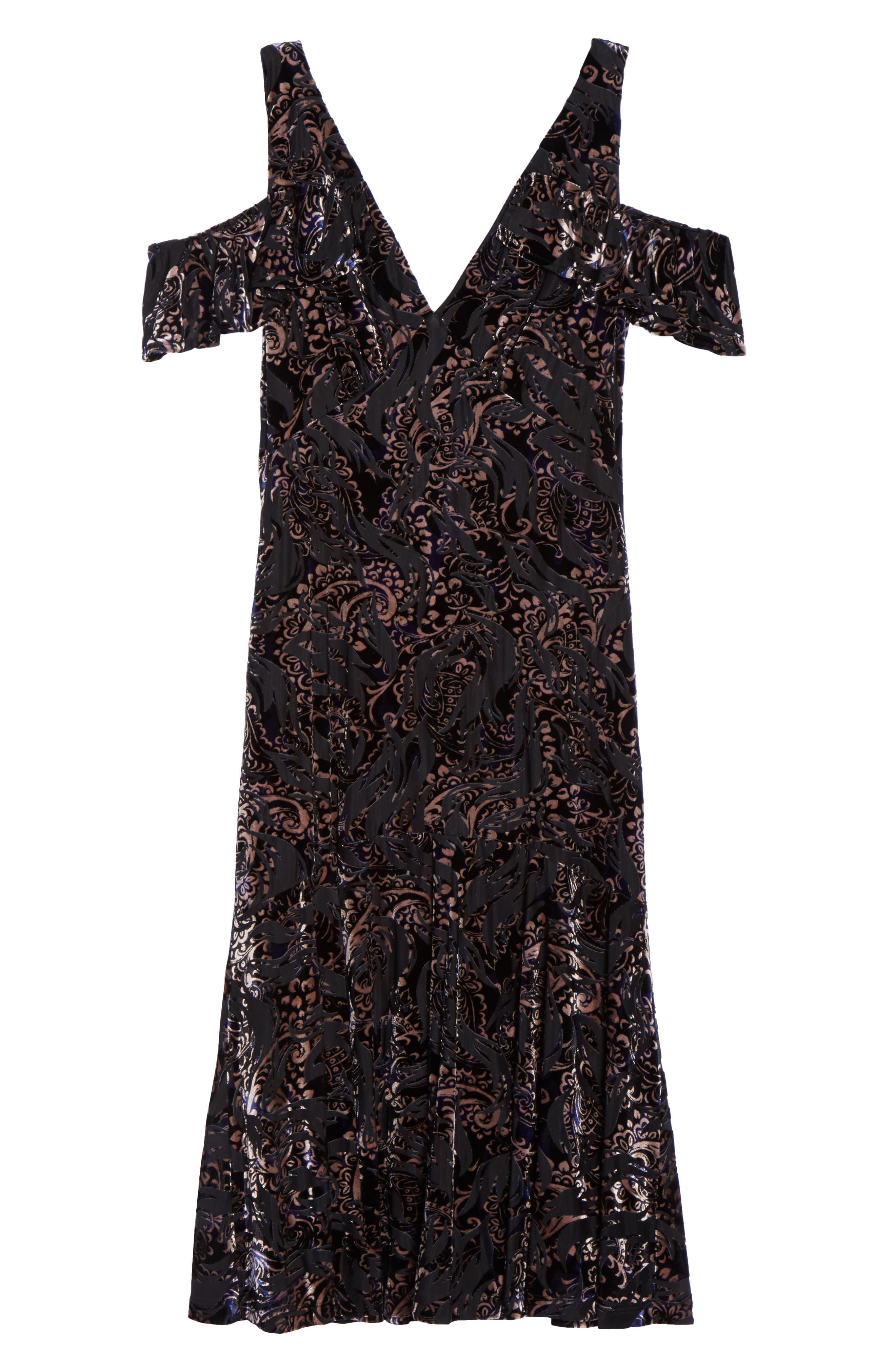 Cold Shoulder Velvet Burnout Dress,                             Alternate thumbnail 6, color,                             400