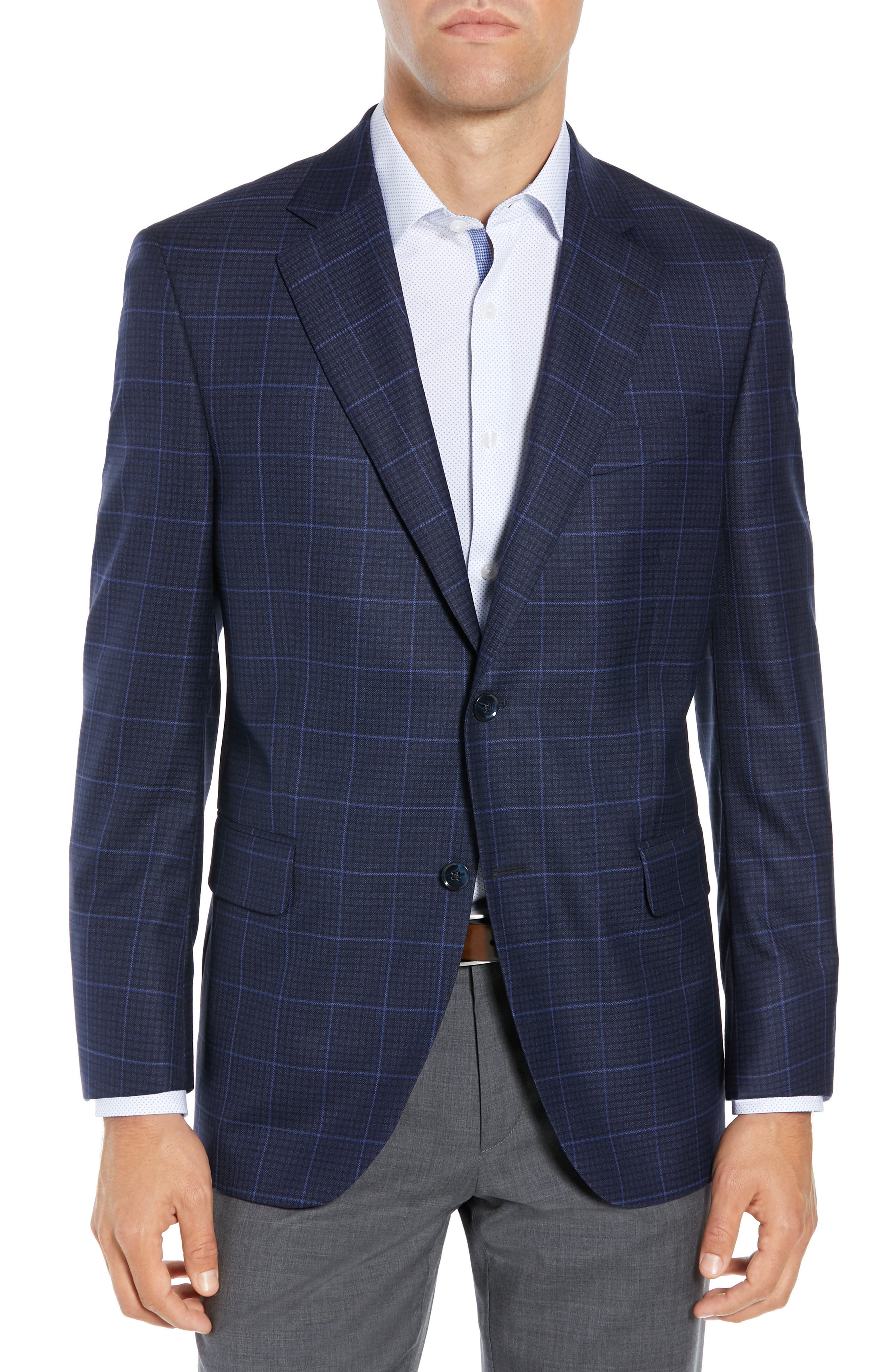 Flynn Classic Fit Plaid Check Sport Coat, Main, color, NAVY