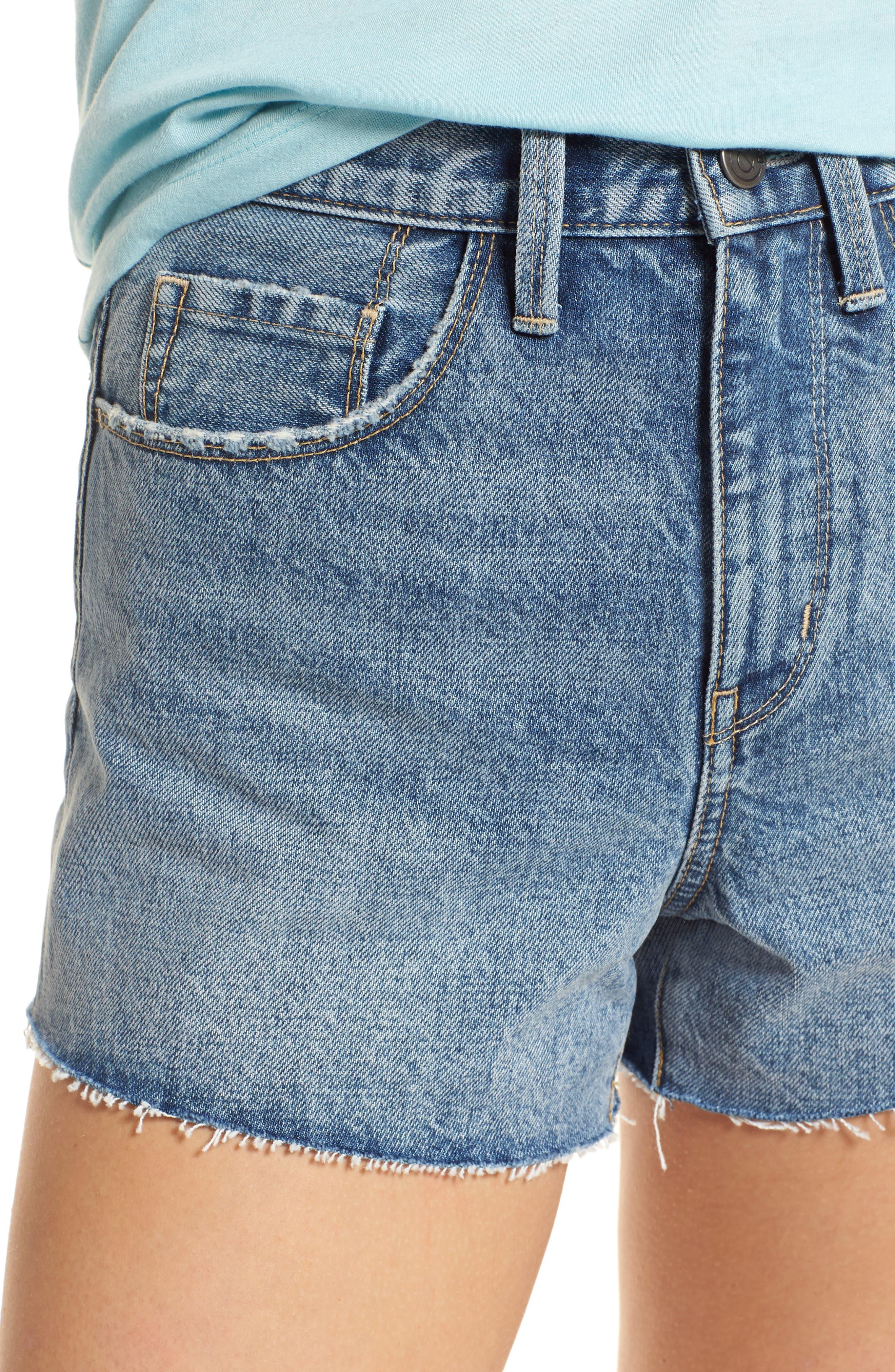 High Waist Cutoff Denim Shorts,                             Alternate thumbnail 4, color,                             420