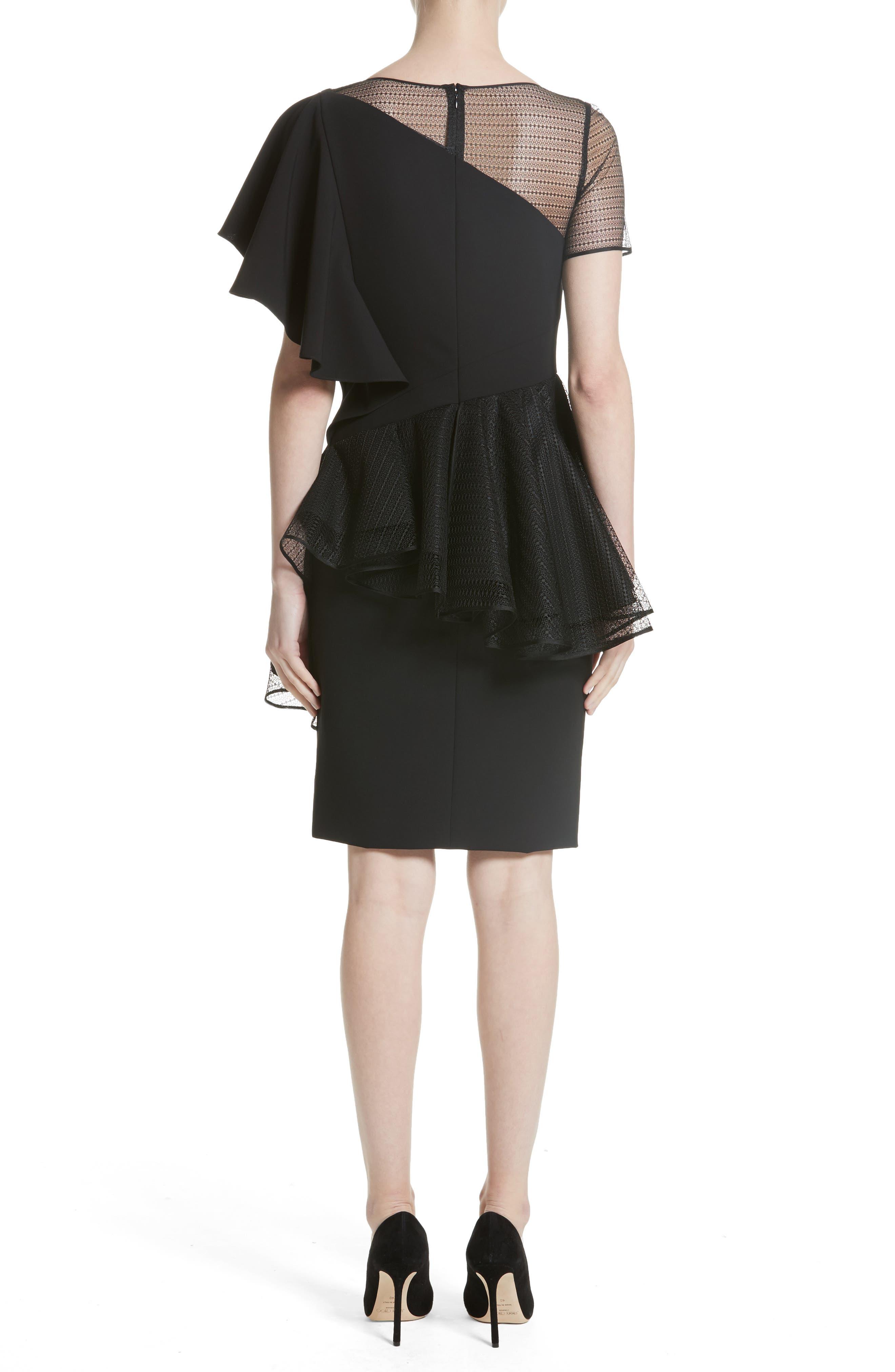 Ruffle Peplum Lace & Jersey Sheath Dress,                             Alternate thumbnail 2, color,                             001
