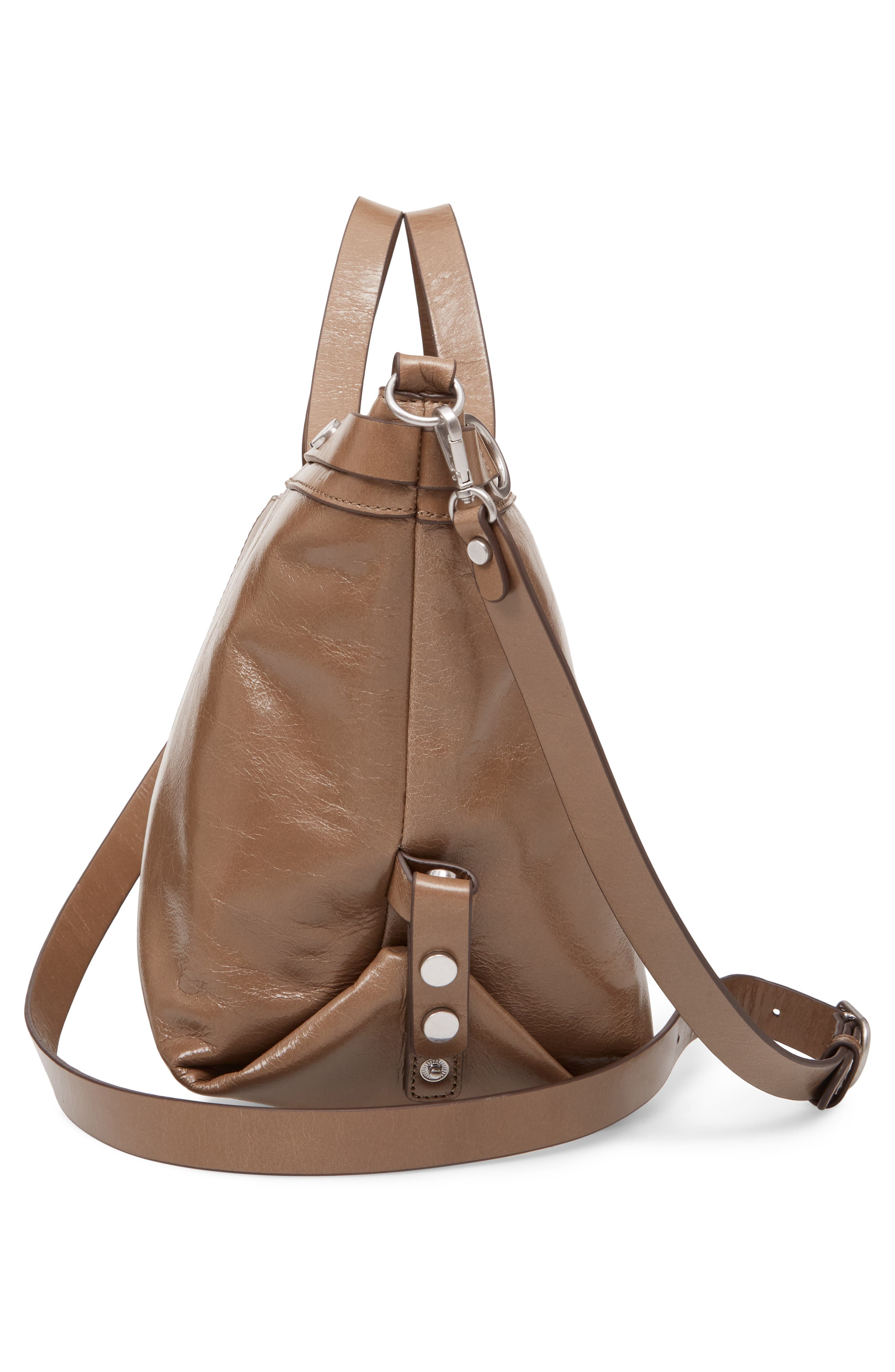 Perry Glazed Leather Convertible Satchel,                             Alternate thumbnail 5, color,                             BEIGE BISCUIT