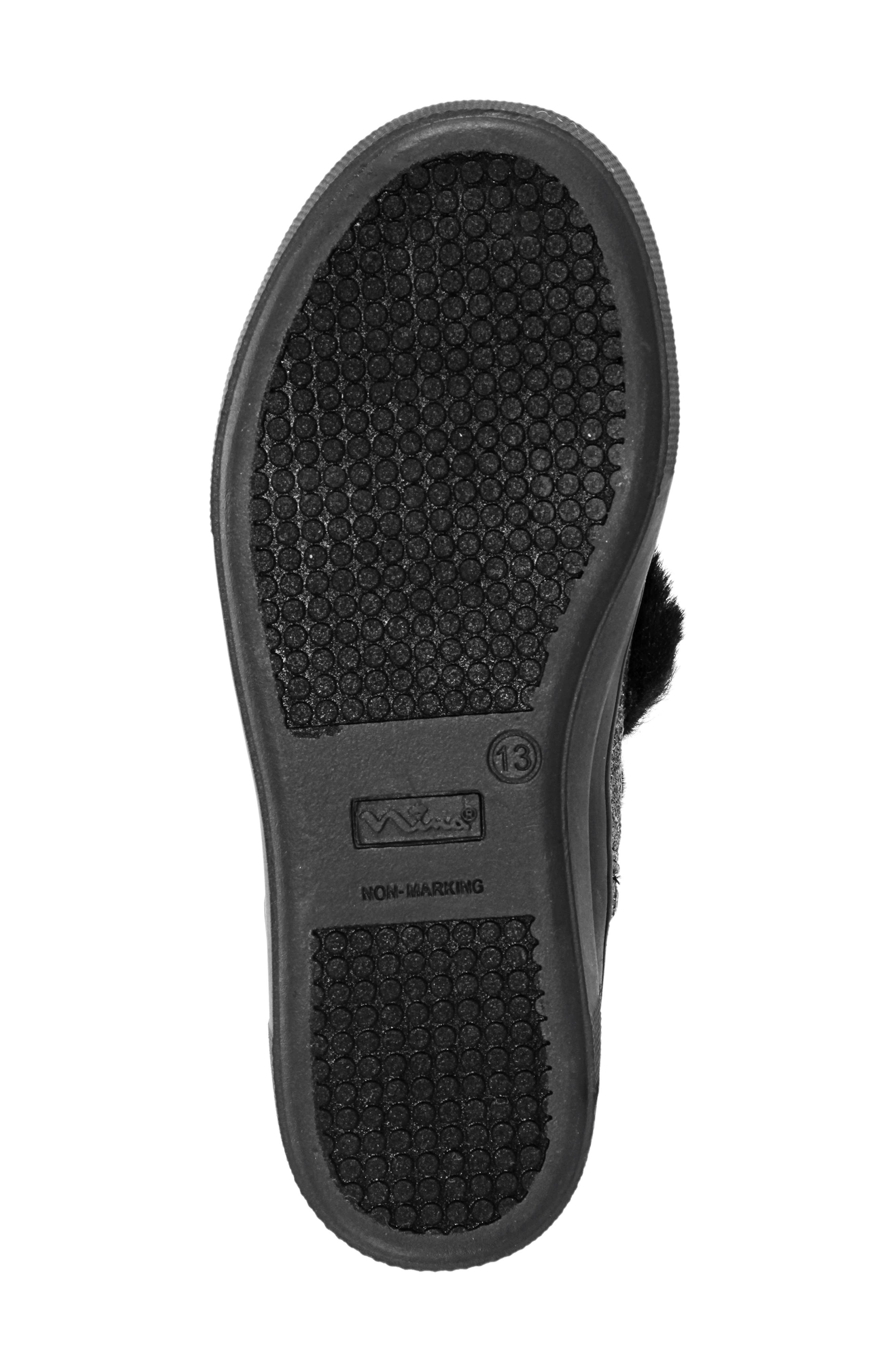 Helen Faux Fur Bootie Sneaker,                             Alternate thumbnail 6, color,                             PEWTER CRACKLE METALLIC
