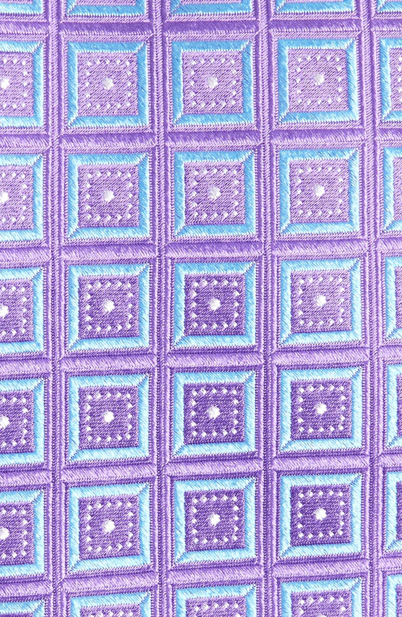 Sublime Squares Geometric Silk Tie,                             Alternate thumbnail 2, color,                             LAVENDER