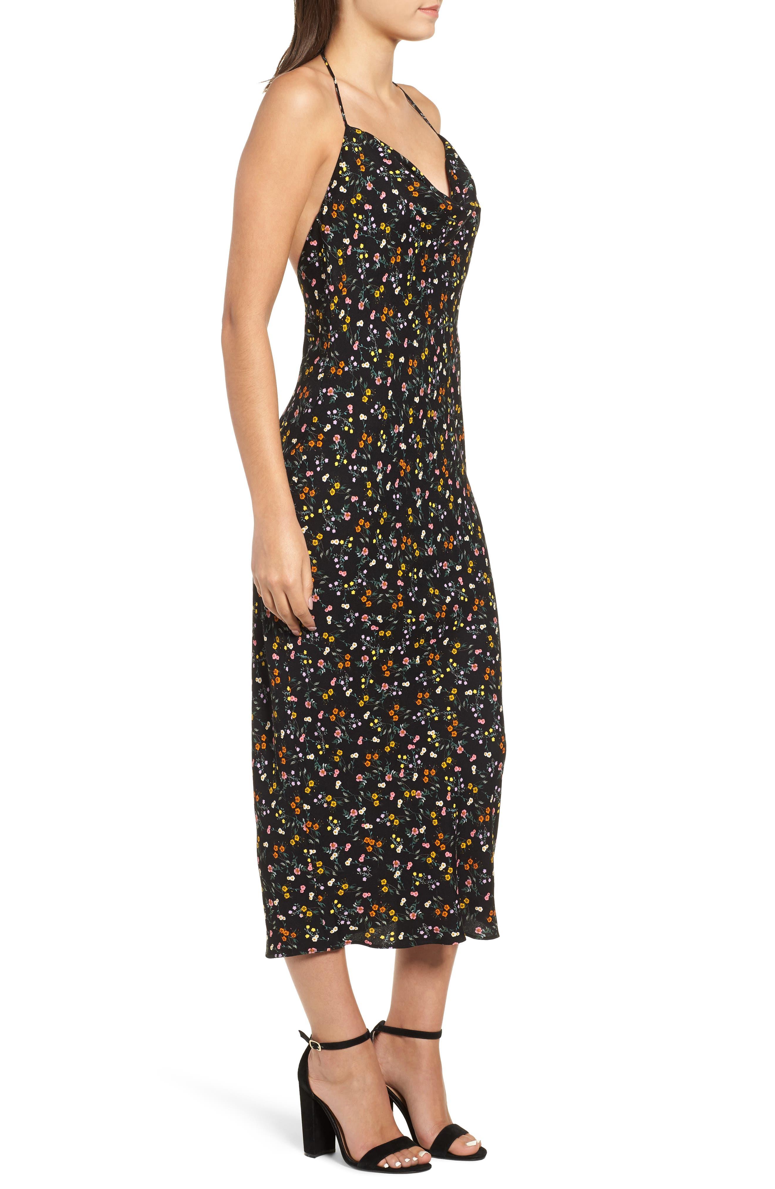 Rowland Midi Dress,                             Alternate thumbnail 3, color,                             NOIR PETITE FLEUR