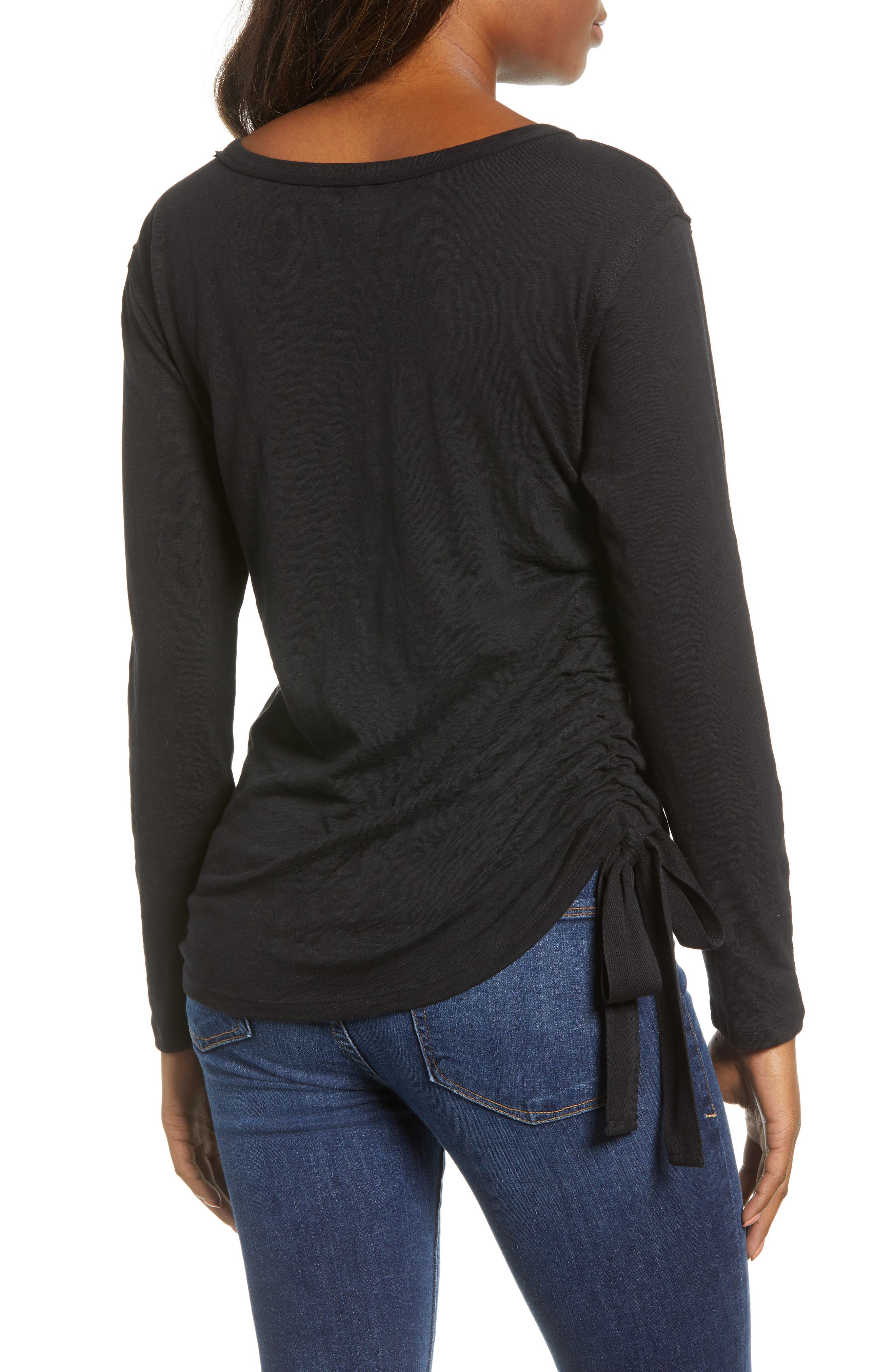 Side Shirred Top,                             Alternate thumbnail 2, color,                             001