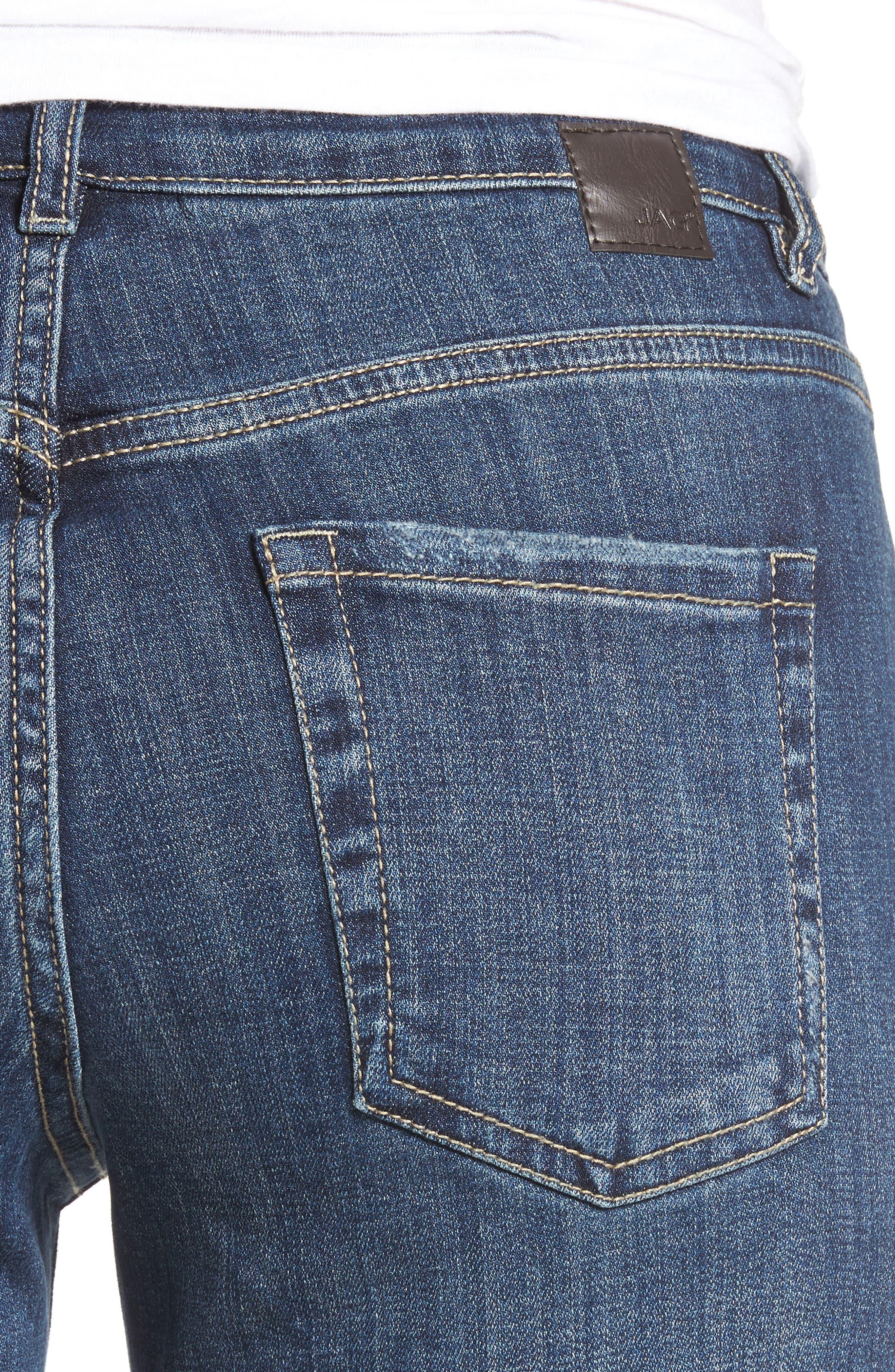 Carter Cuffed Stretch Girlfriend Jeans,                             Alternate thumbnail 4, color,                             MEDIUM INDIGO