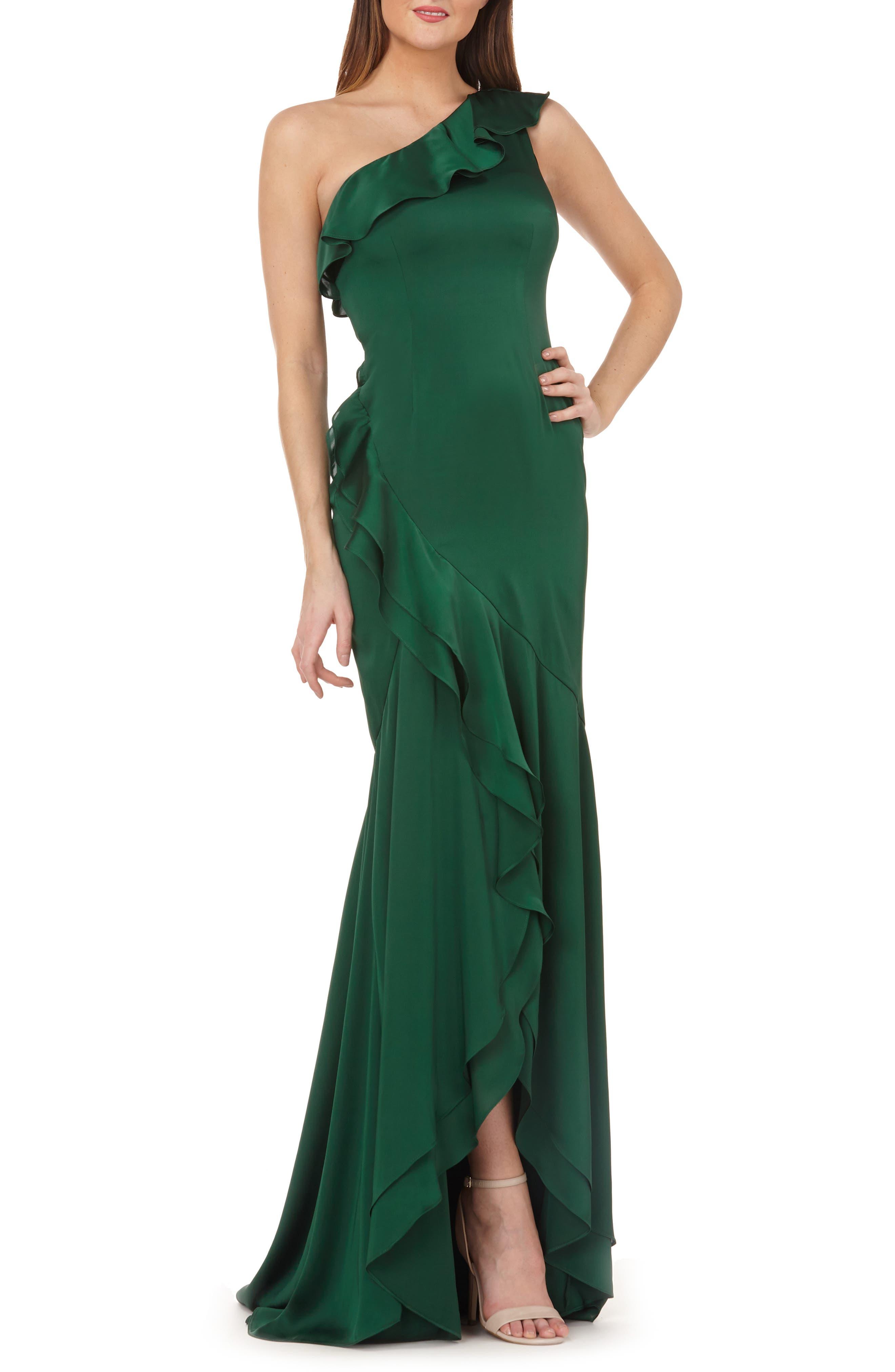 Carmen Marc Valvo Infusion One-Shoulder Satin Evening Dress