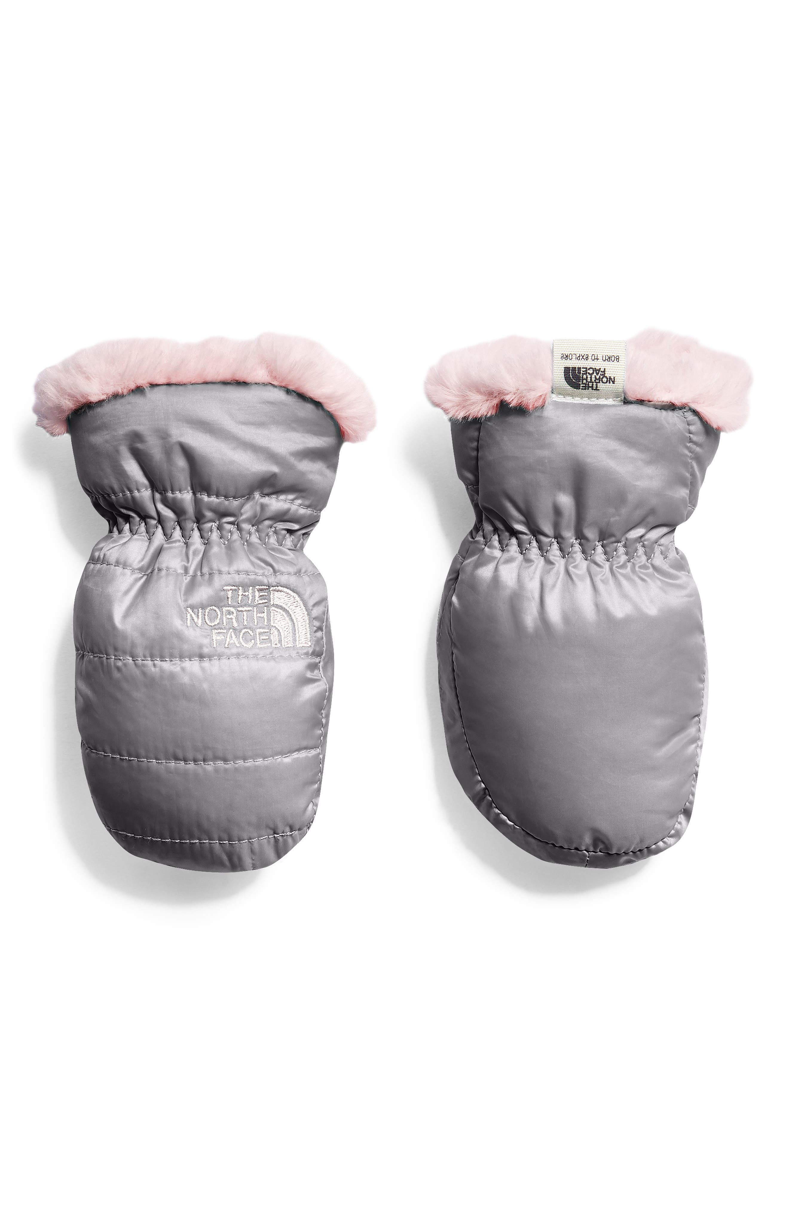 Mossbud Swirl Reversible Water Resistant Heatseeker<sup>™</sup> Insulated Mittens,                         Main,                         color, MID GREY/ PURDY PINK