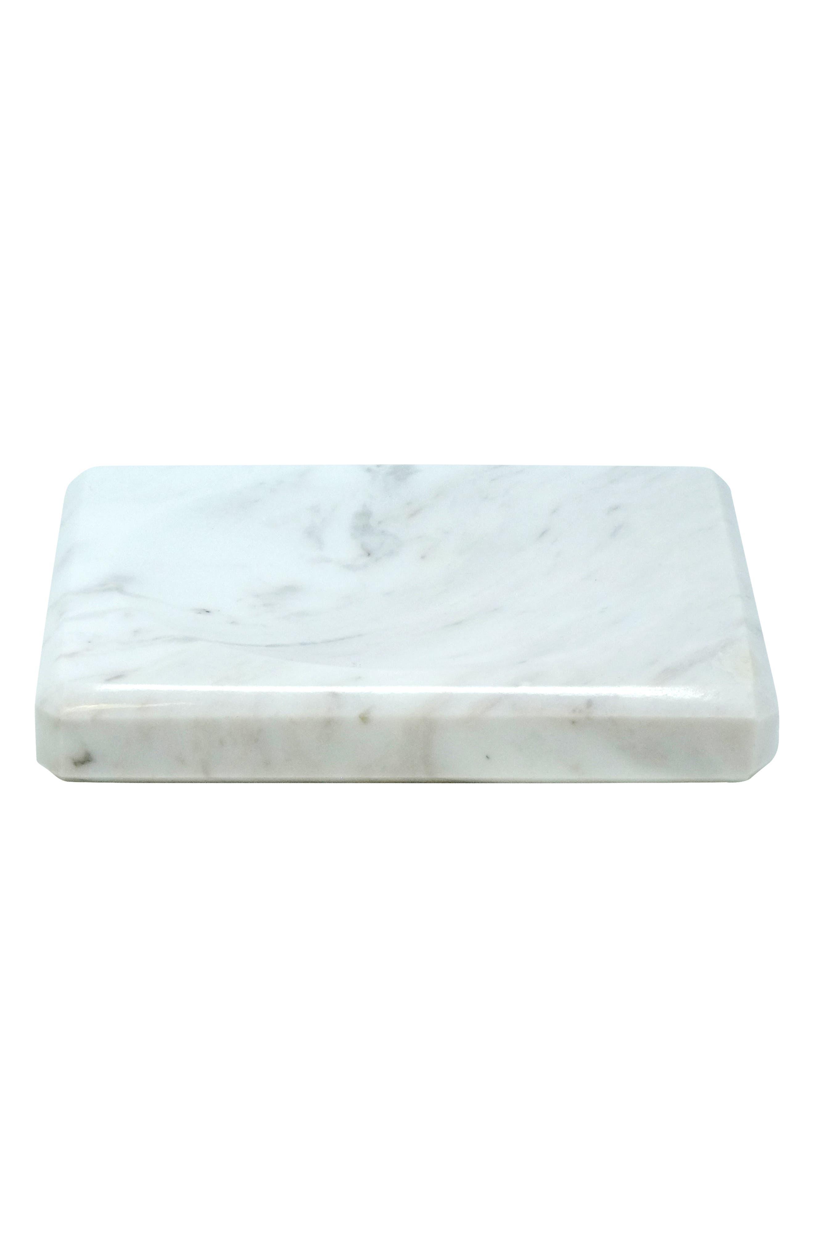 'Luna' White Marble Soap Dish,                             Main thumbnail 1, color,                             WHITE