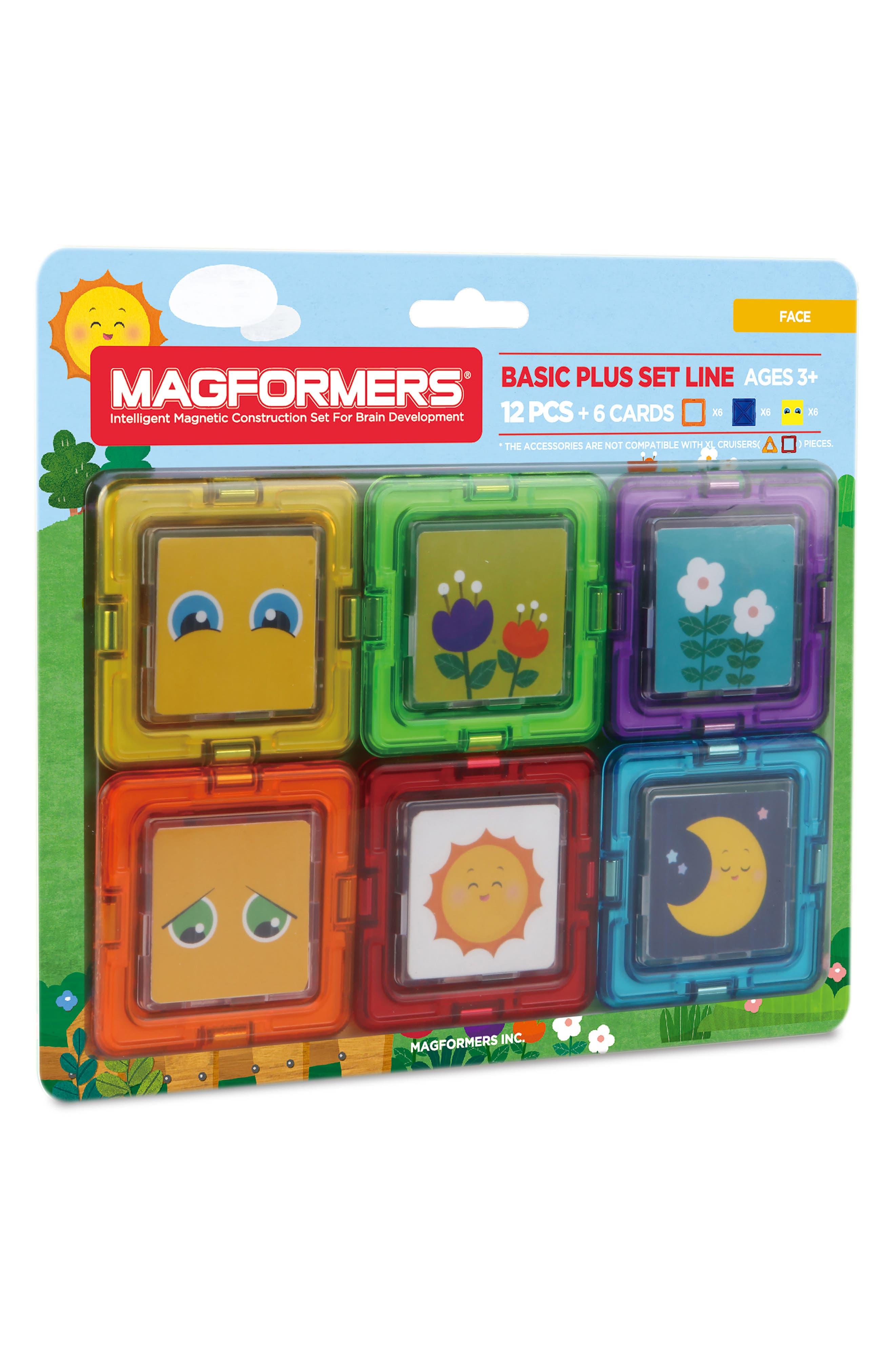 18-Piece Basic Plus Faces Magnetic 3D Construction Set,                             Main thumbnail 1, color,                             300