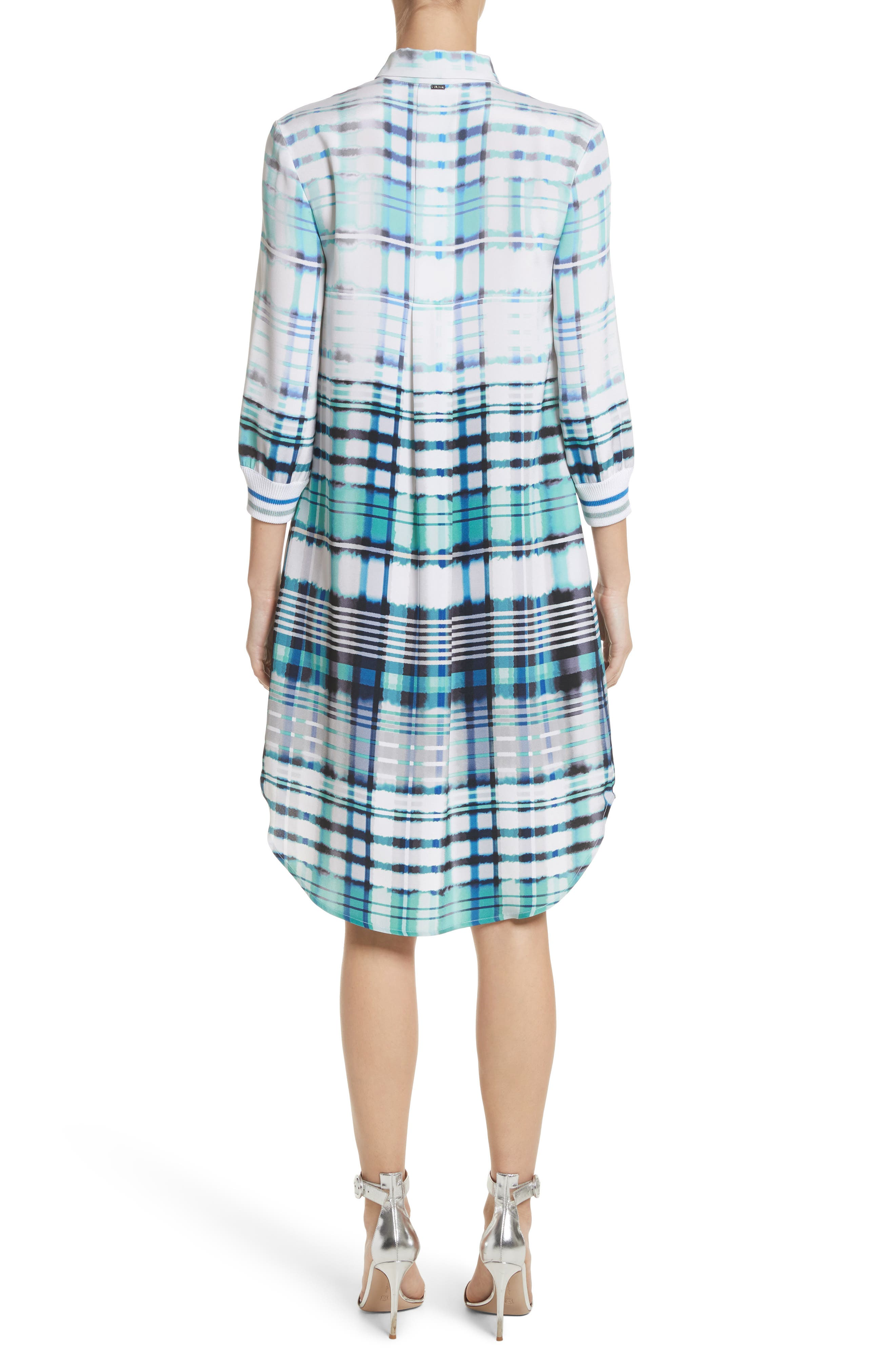Ombré Plaid Stretch Silk Shirtdress,                             Alternate thumbnail 2, color,                             350