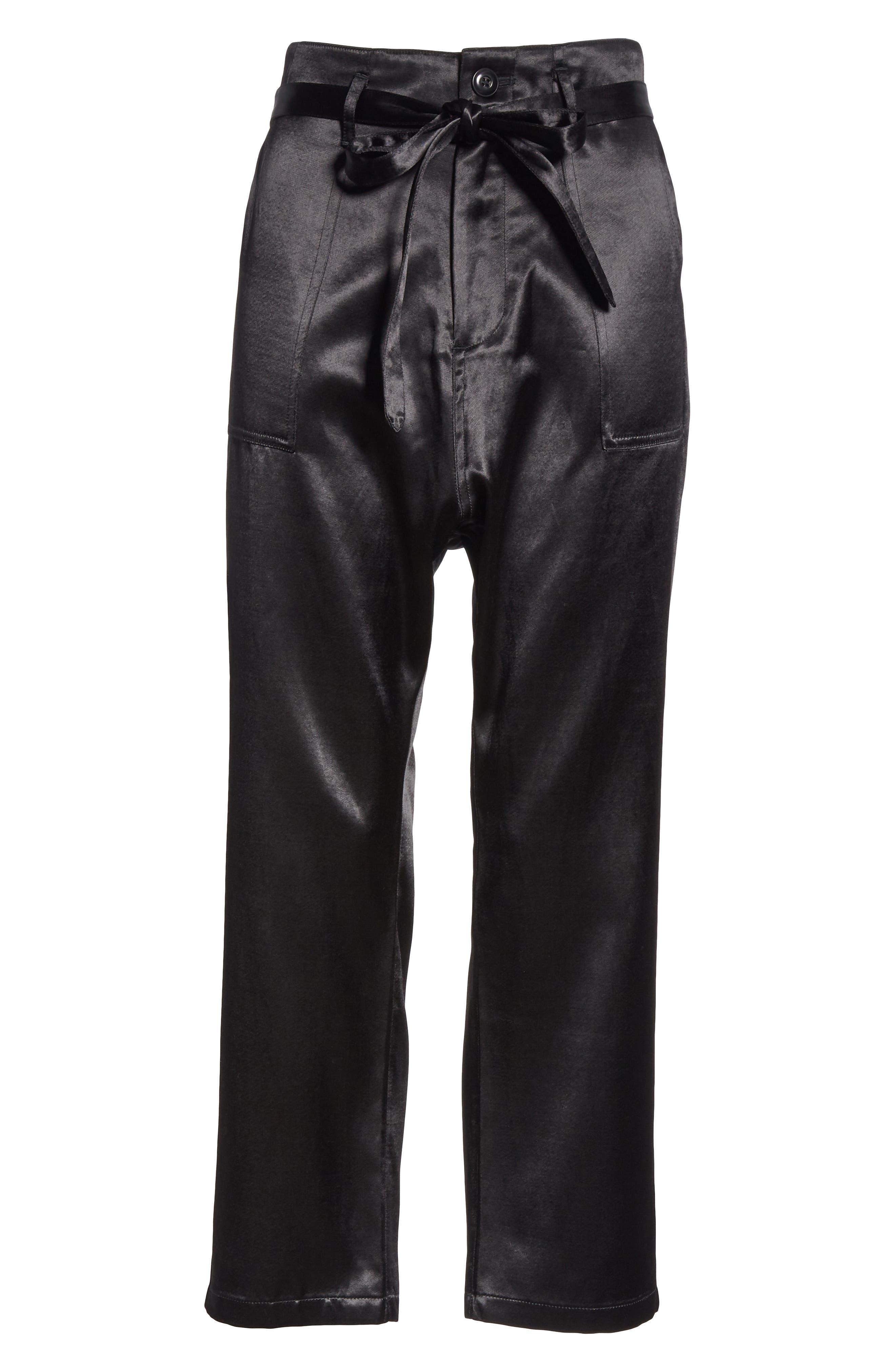 The Satin Trousers,                             Alternate thumbnail 6, color,                             BLACK