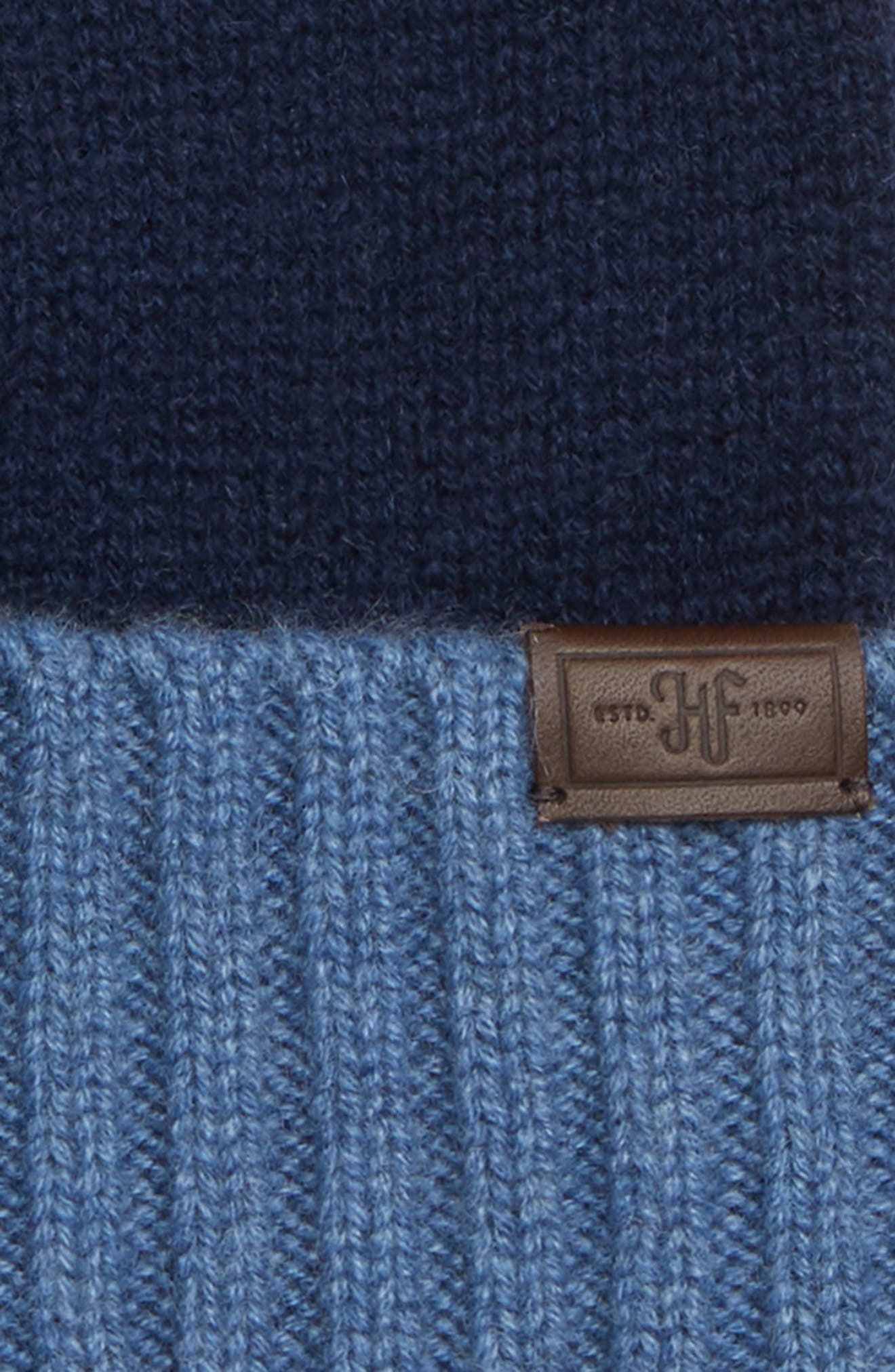 Colorblock Cashmere Beanie,                             Alternate thumbnail 2, color,                             NAVY/ DENIM