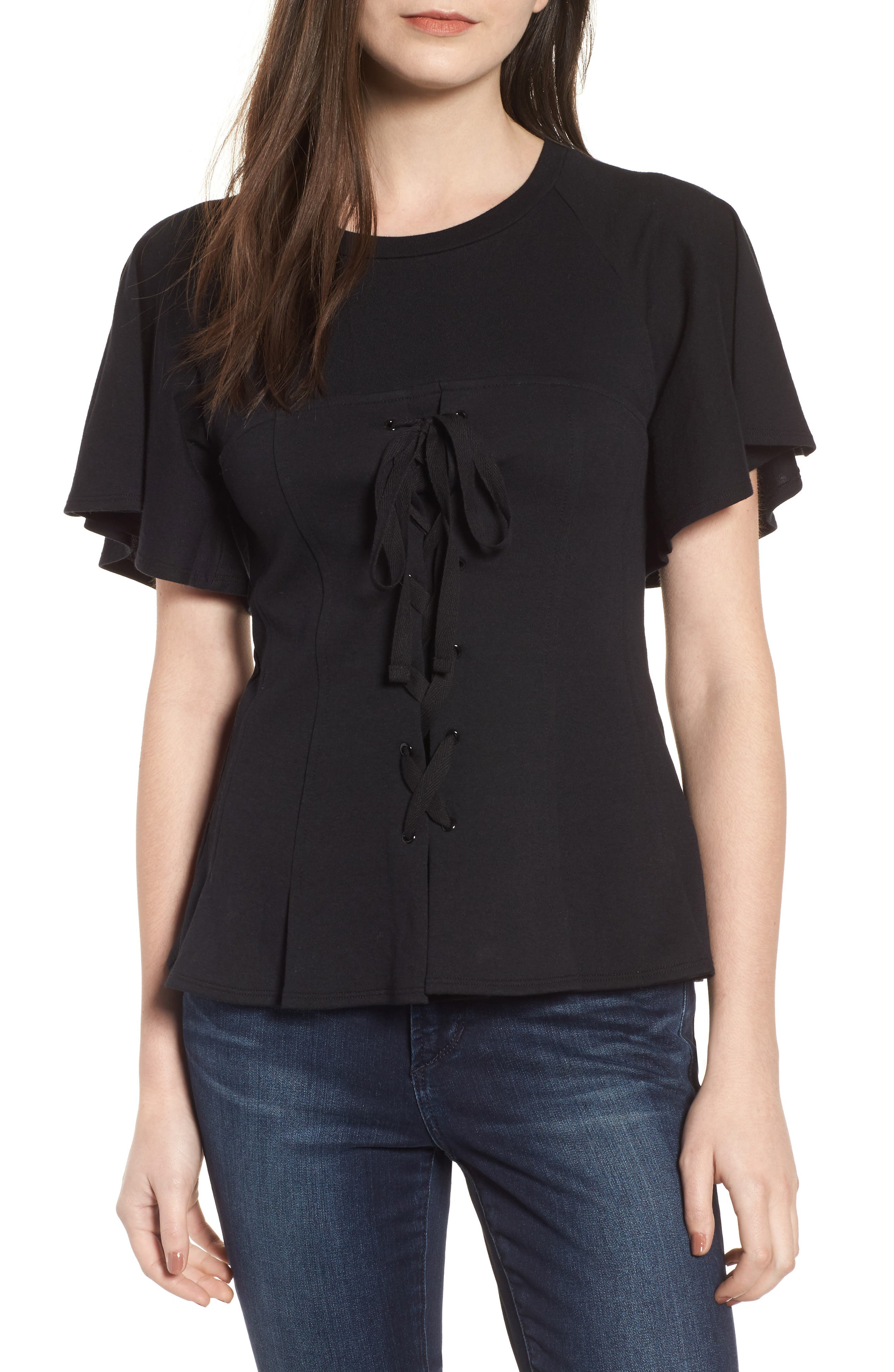 Flutter Sleeve Corset Tee,                         Main,                         color,