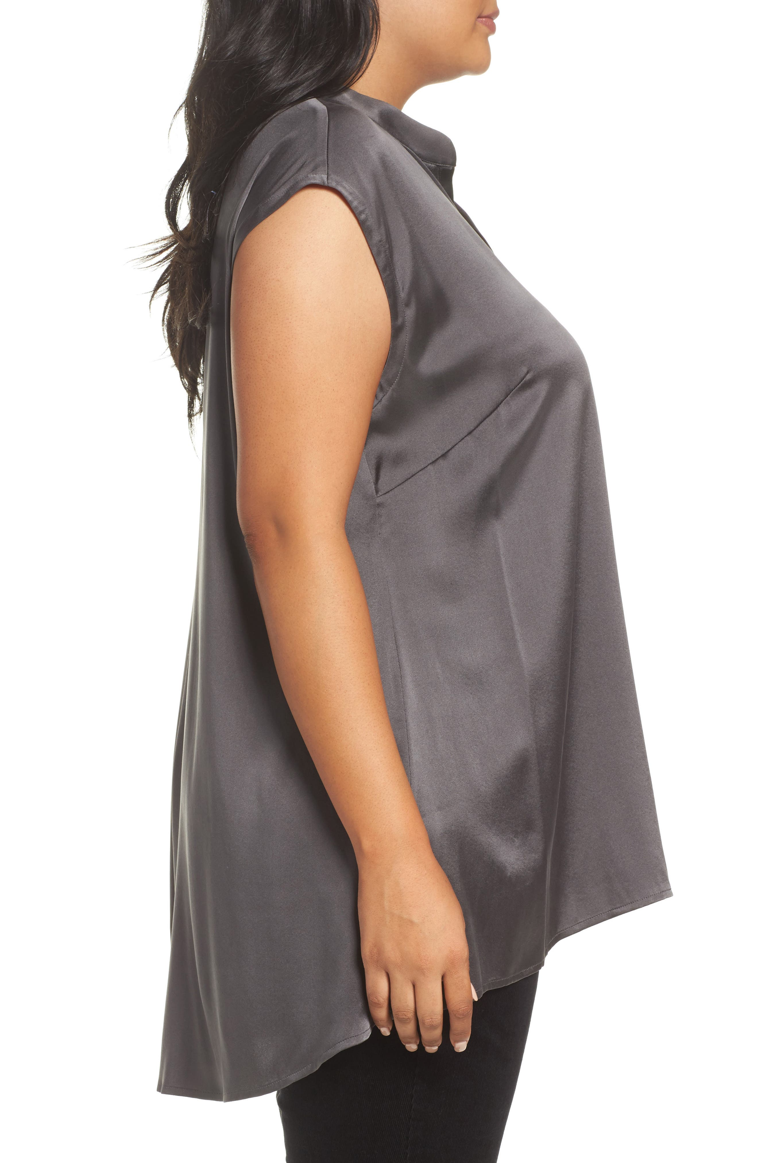 Stretch Silk Top,                             Alternate thumbnail 3, color,                             210