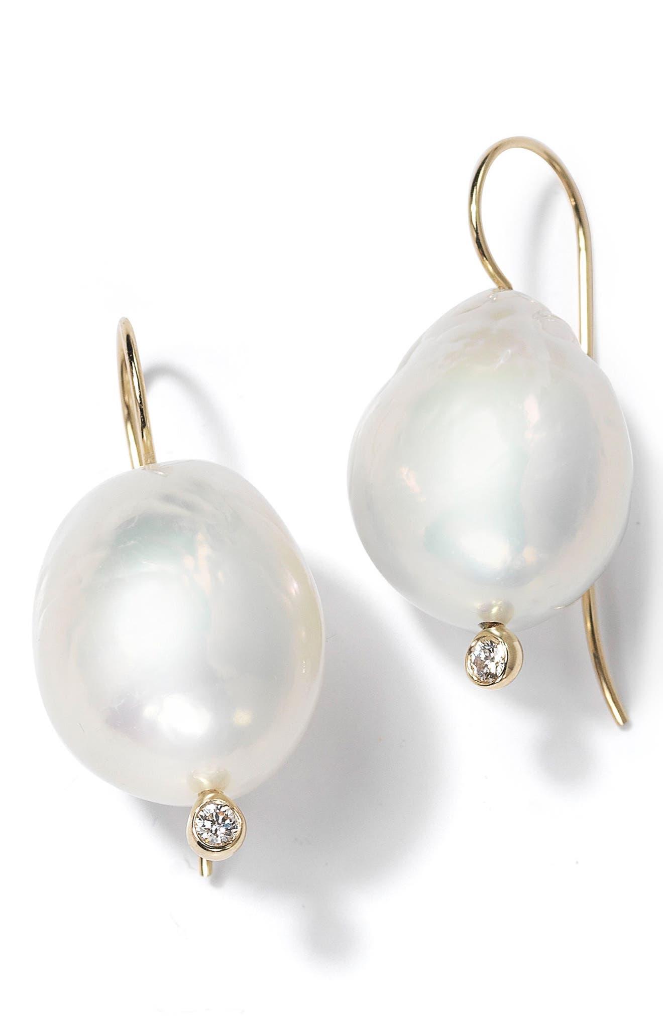 Large Baroque Pearl Drop Earrings,                         Main,                         color, 710
