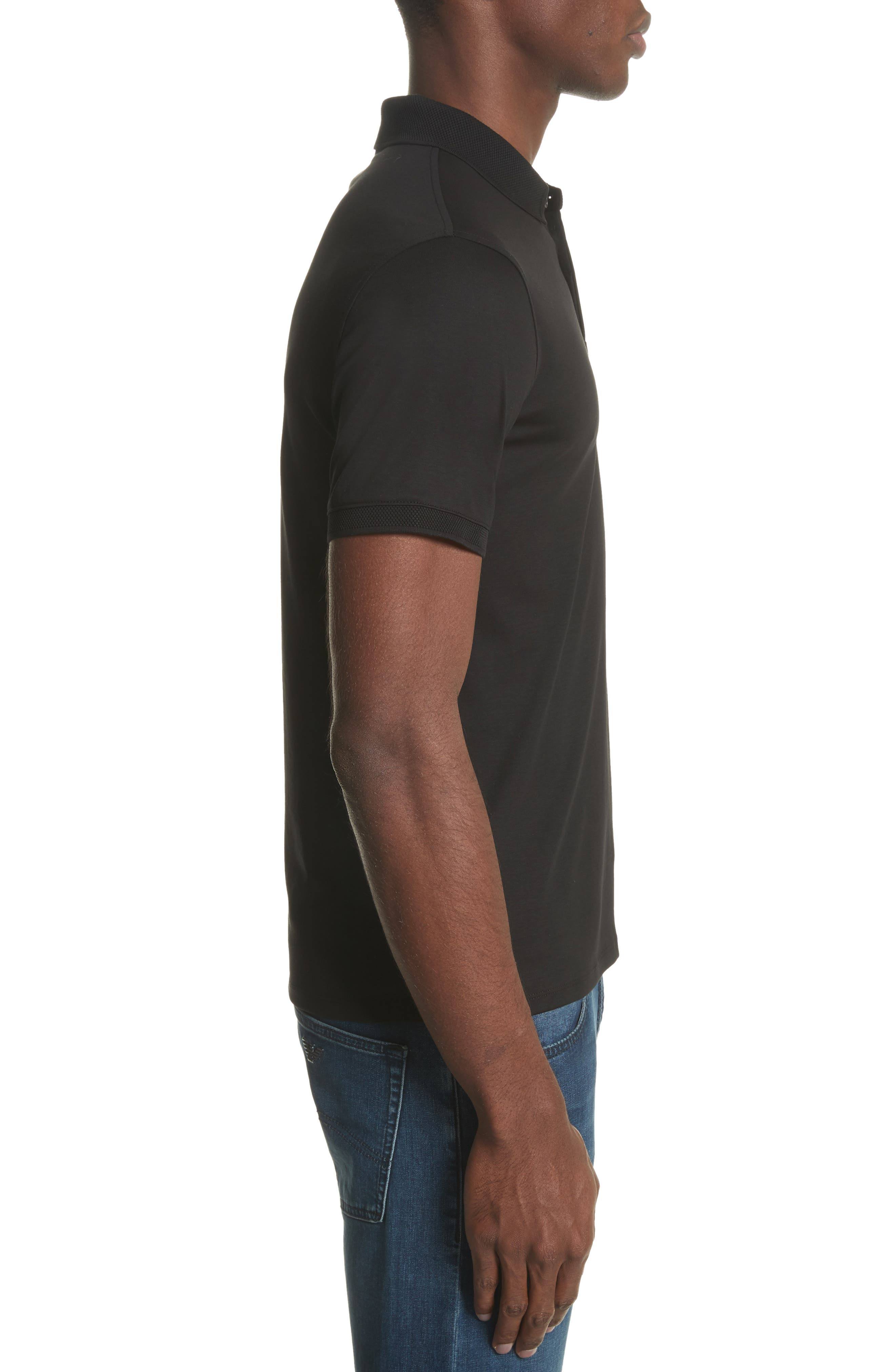 Slim Fit Polo,                             Alternate thumbnail 3, color,                             SOLID BLACK