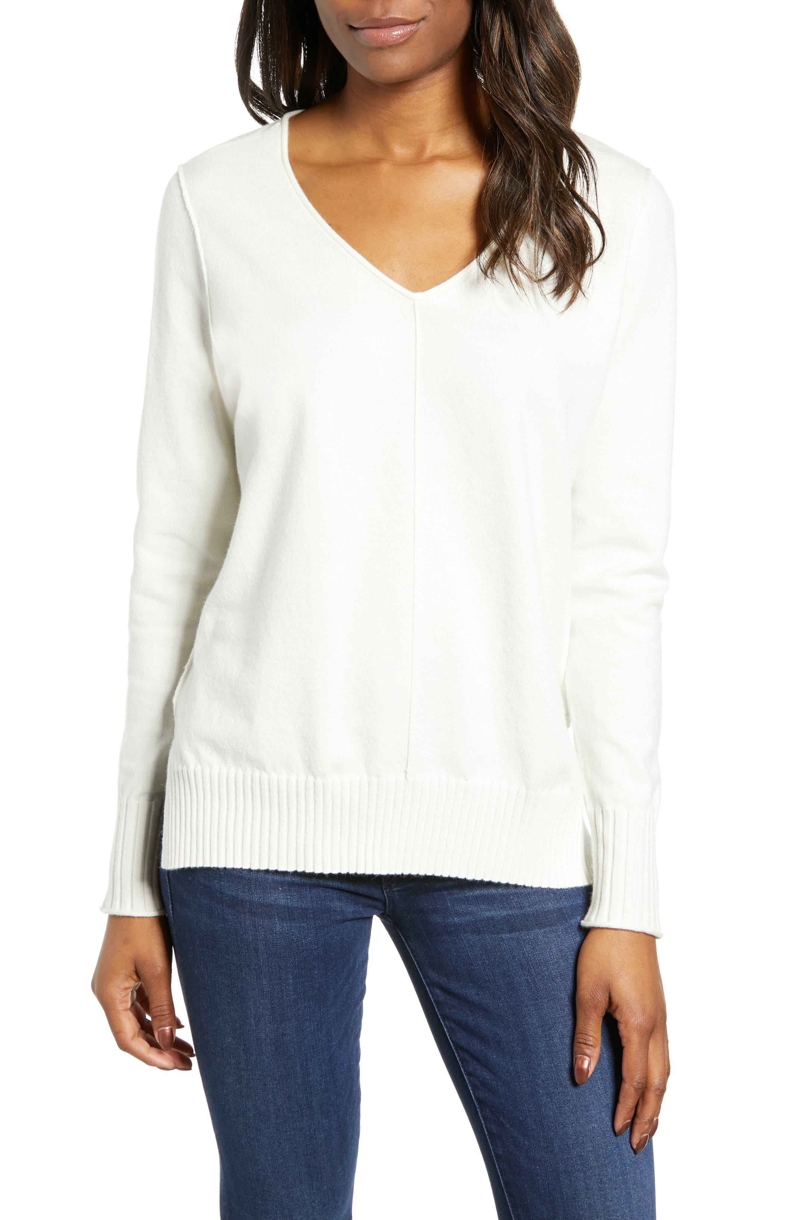 CASLON<SUP>®</SUP> Side Slit Sweater, Main, color, IVORY