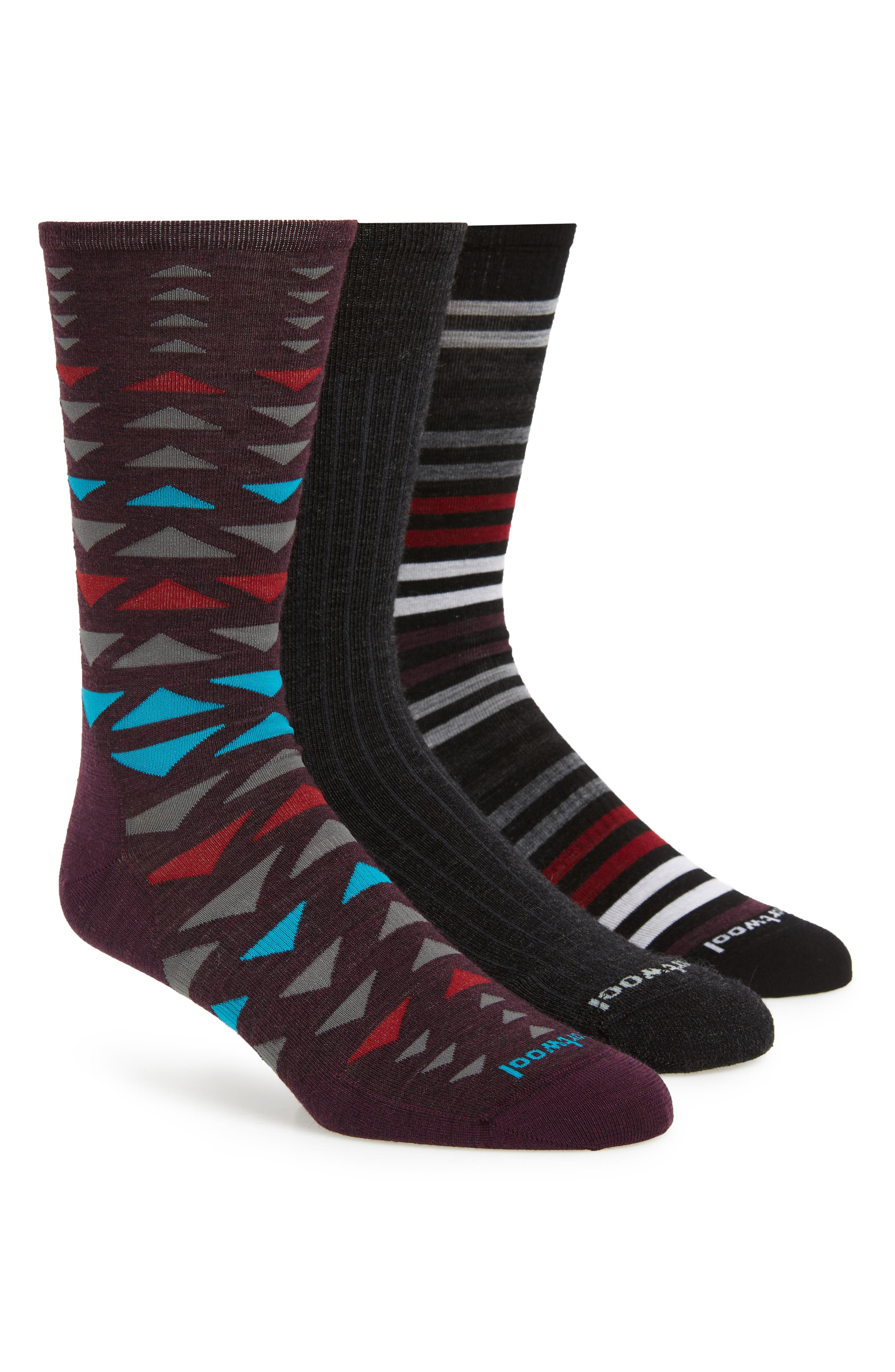 Trio 3-Pack Socks, Main, color, CHARCOAL HEATHER/ TIBETAN RED