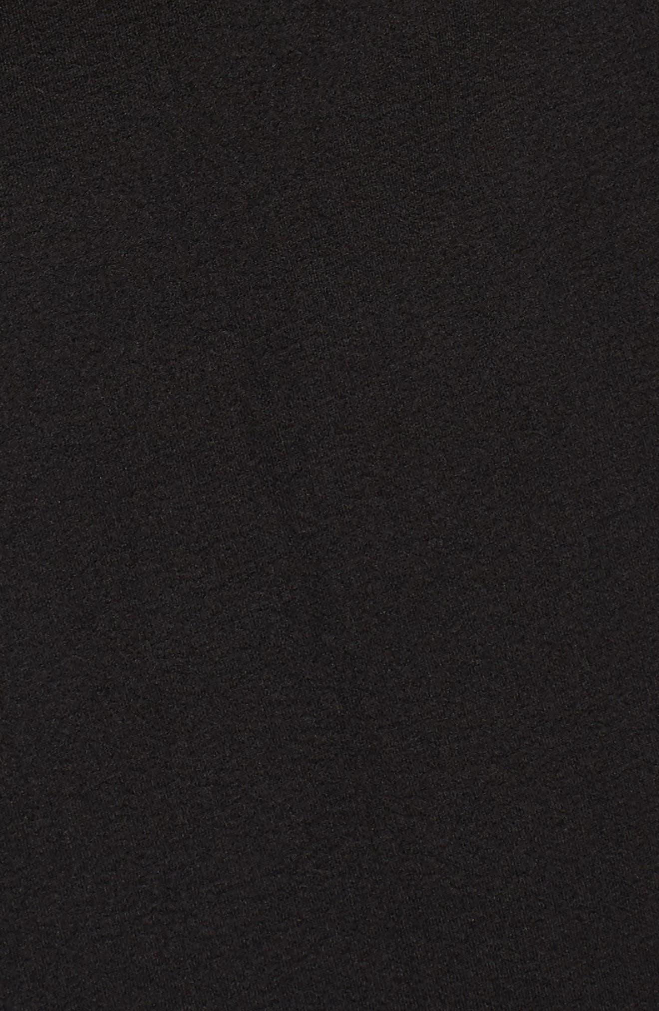 Ruched Surplice Crepe Sheath Dress,                             Alternate thumbnail 6, color,                             BLACK