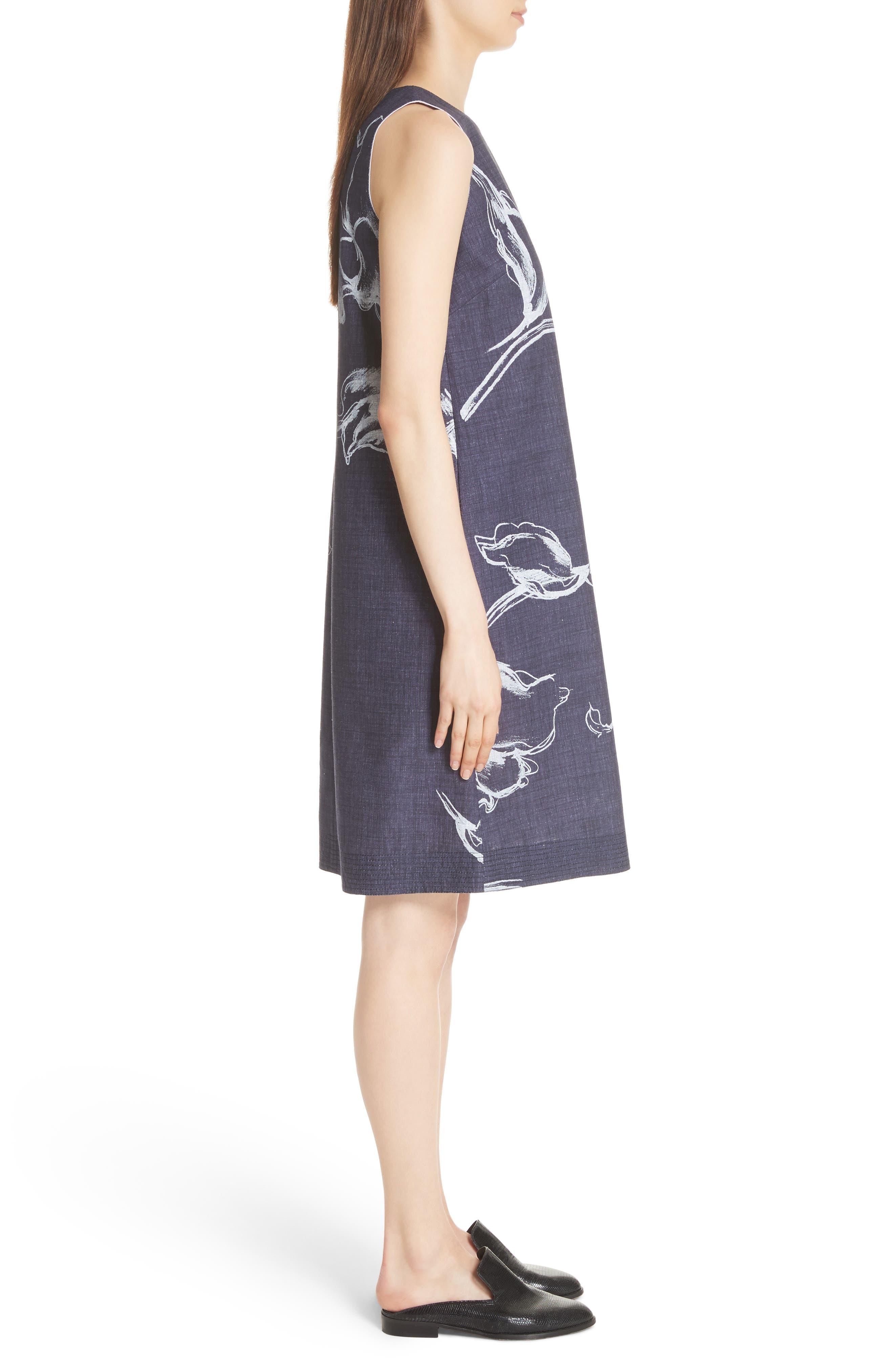 Hana Print Chambray Dress,                             Alternate thumbnail 3, color,                             438