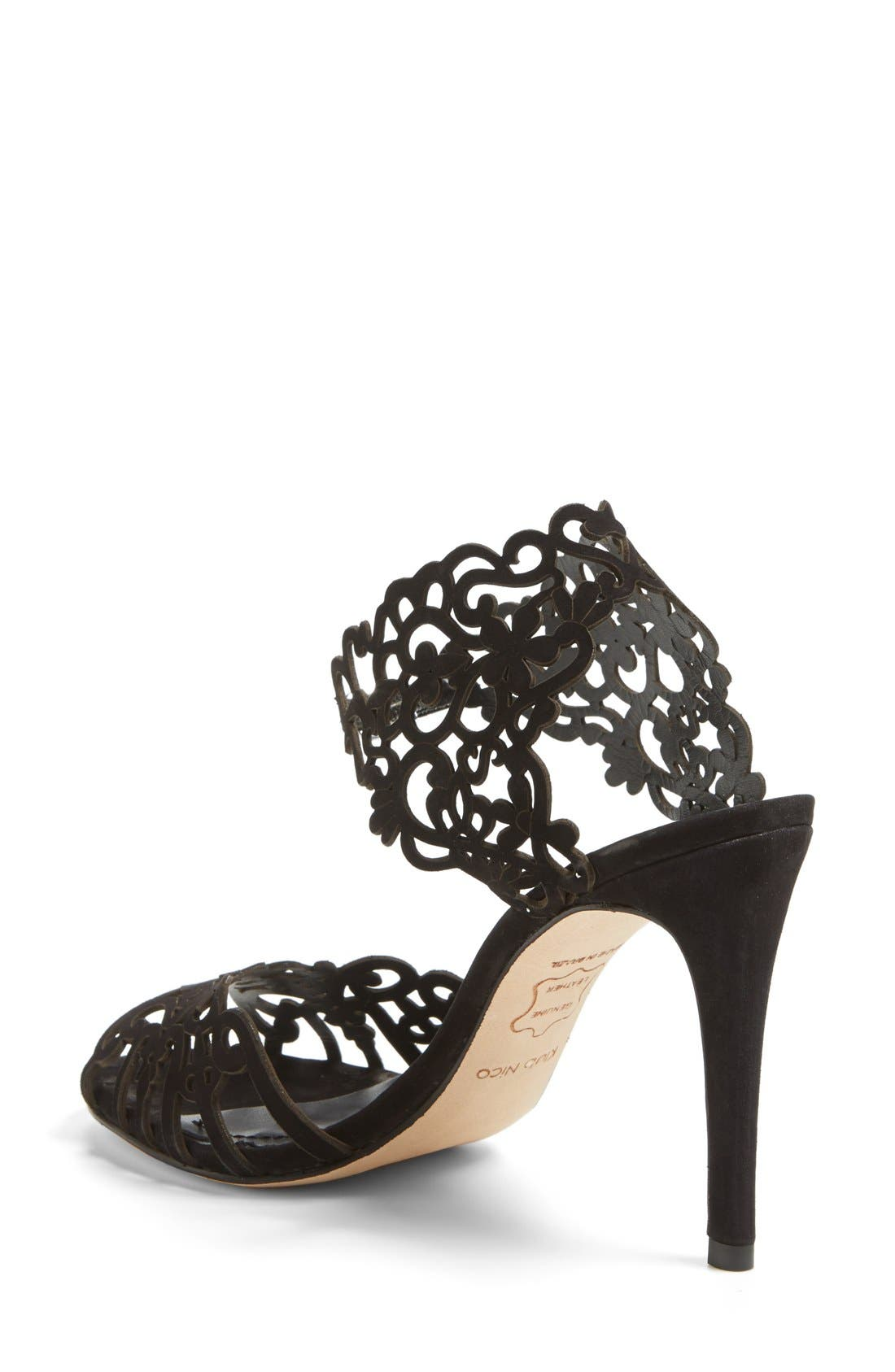 'Moxie' Laser Cutout Sandal,                             Alternate thumbnail 2, color,                             BLACK