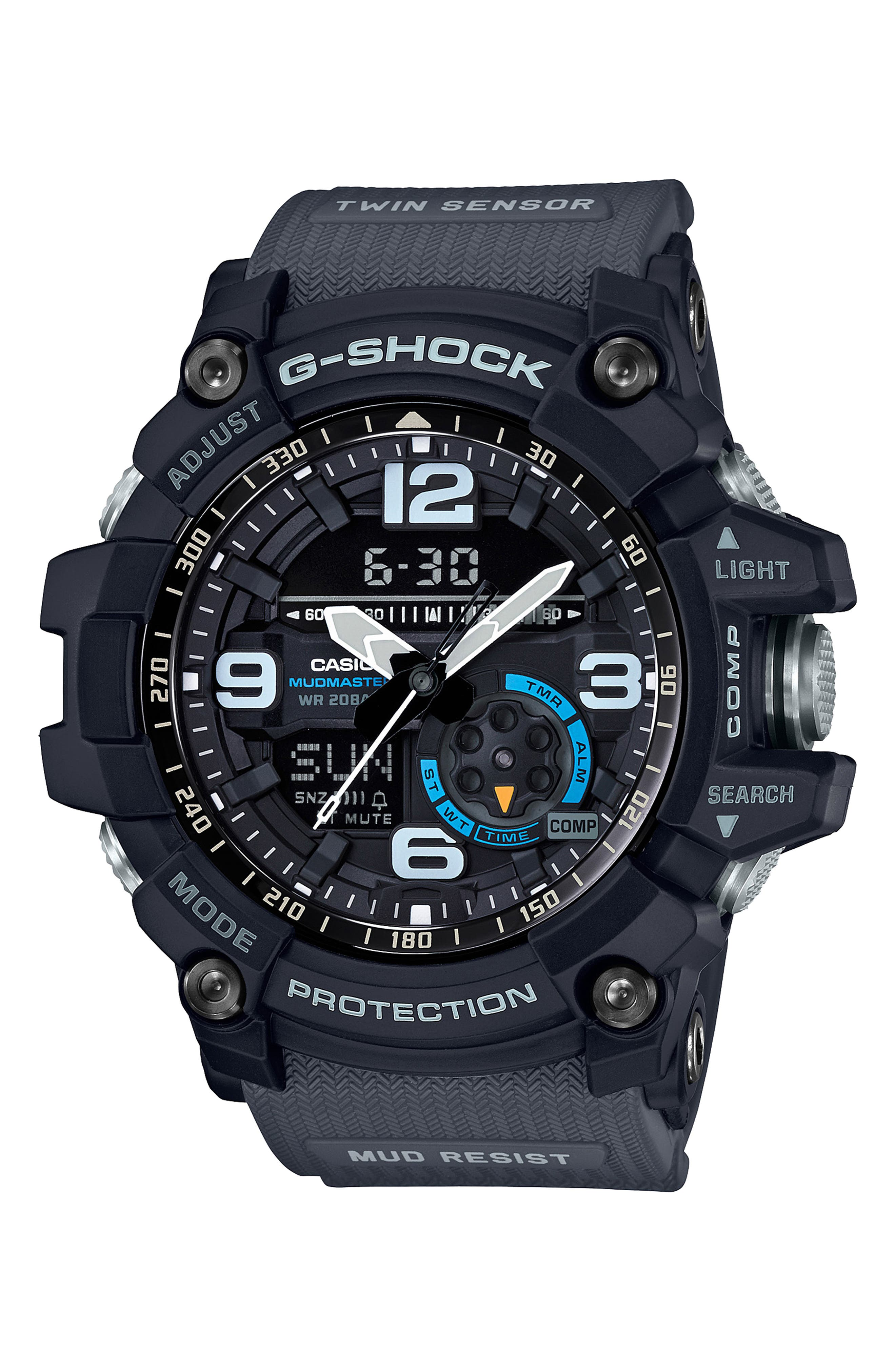 G-Shock Mudmaster Casio Resin Ana-Digi Watch, 55mm,                             Main thumbnail 1, color,                             BLACK MULTI