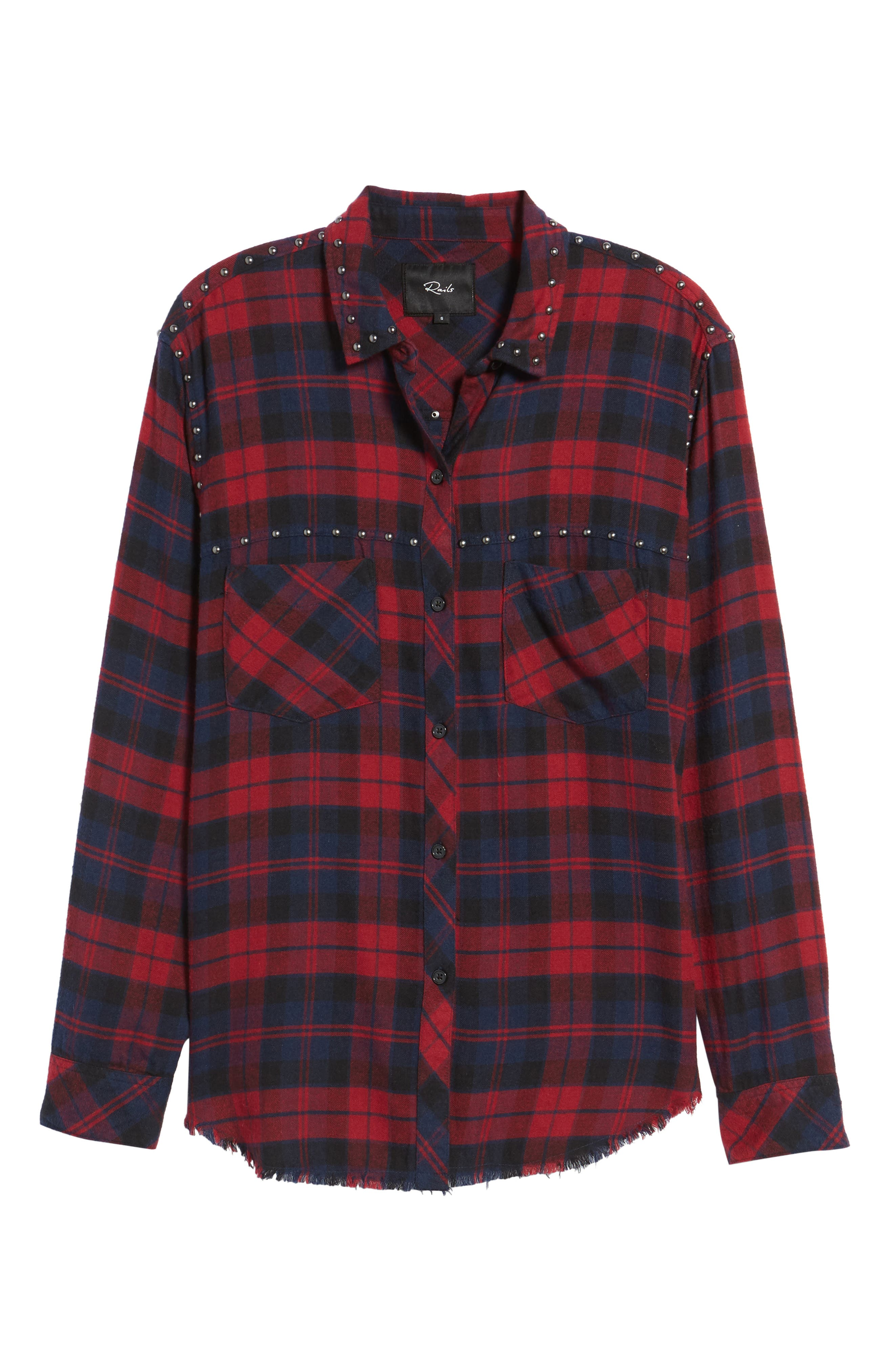 Rex Studded Plaid Shirt,                             Alternate thumbnail 6, color,                             622