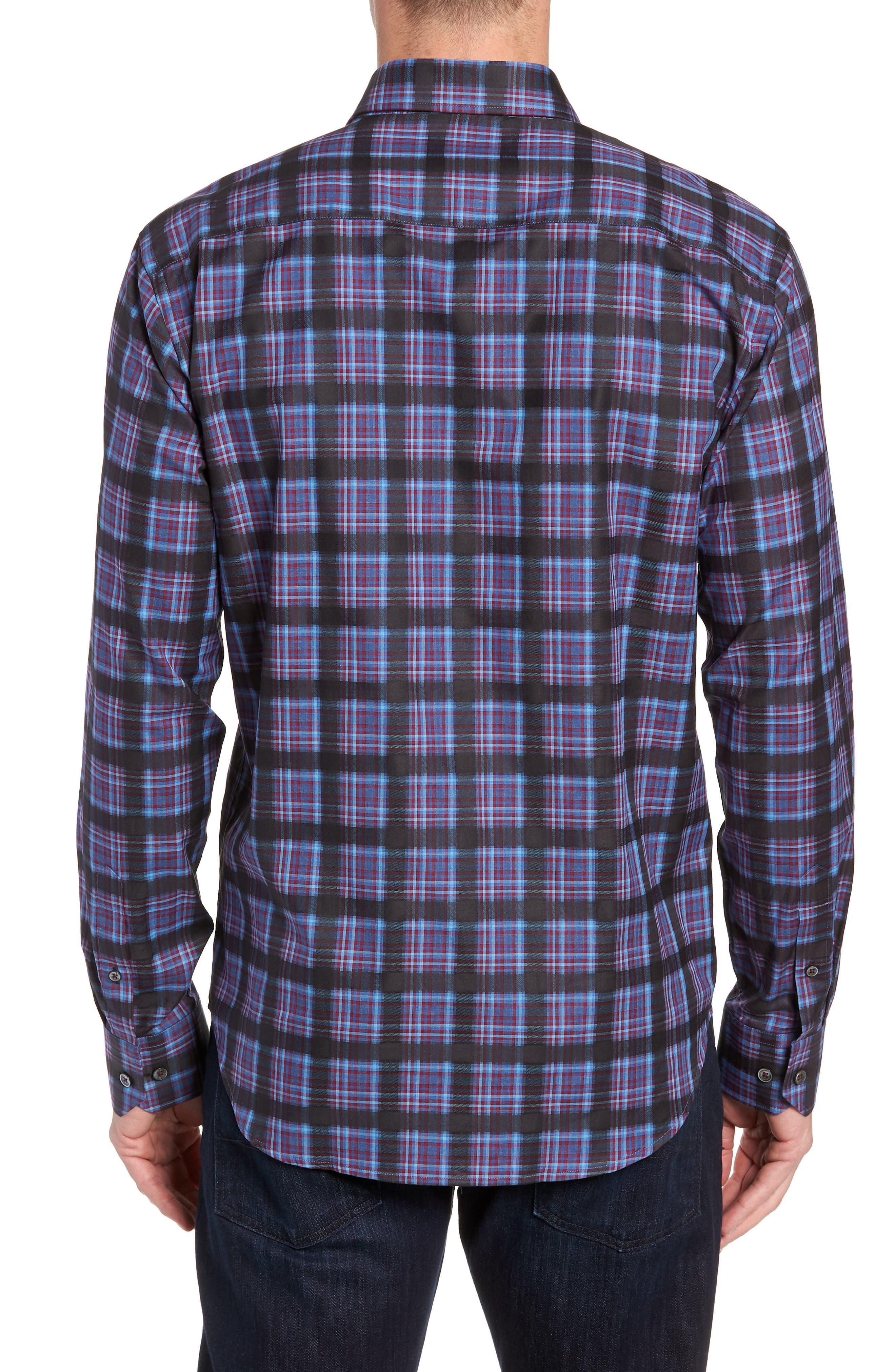 Regular Fit Plaid Sport Shirt,                             Alternate thumbnail 3, color,                             400