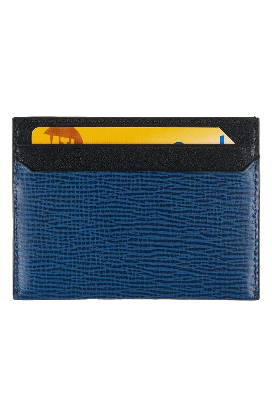 Monaco Slim Leather Card Case,                             Alternate thumbnail 2, color,                             COBALT