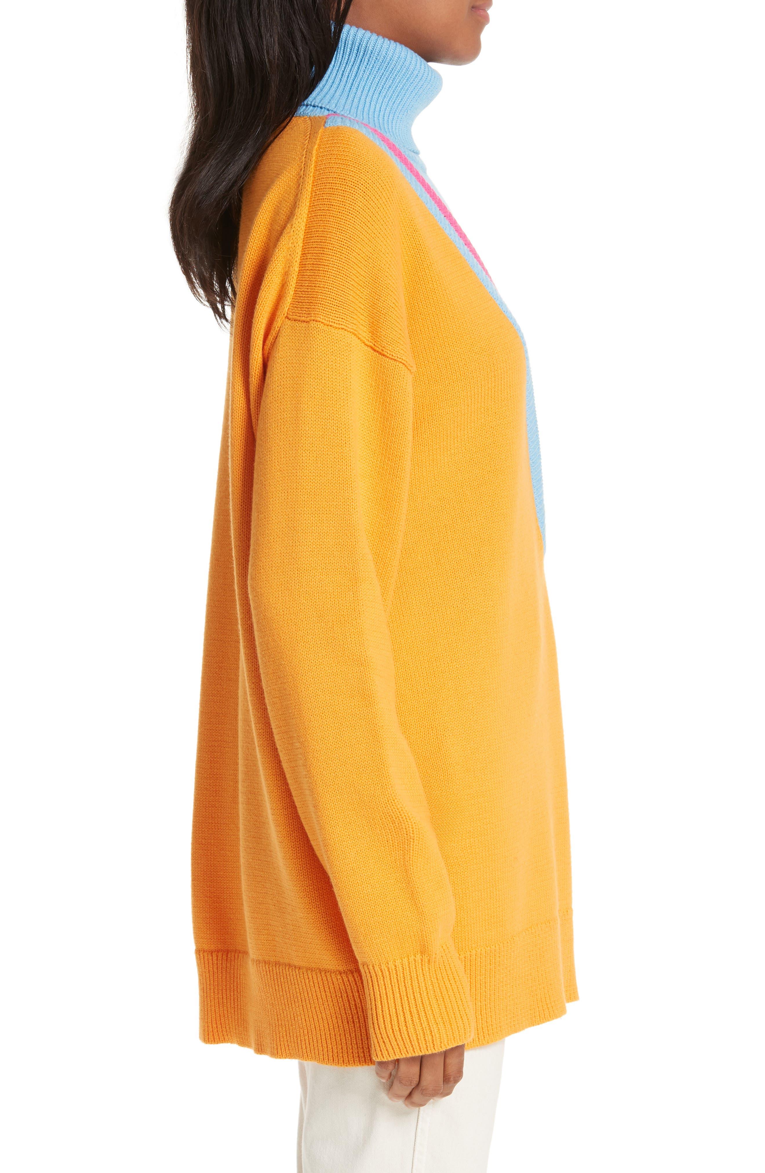 VICTOR GLEMAUD,                             Layered Cotton & Cashmere Turtleneck Sweater,                             Alternate thumbnail 3, color,                             ORANGE COMBO