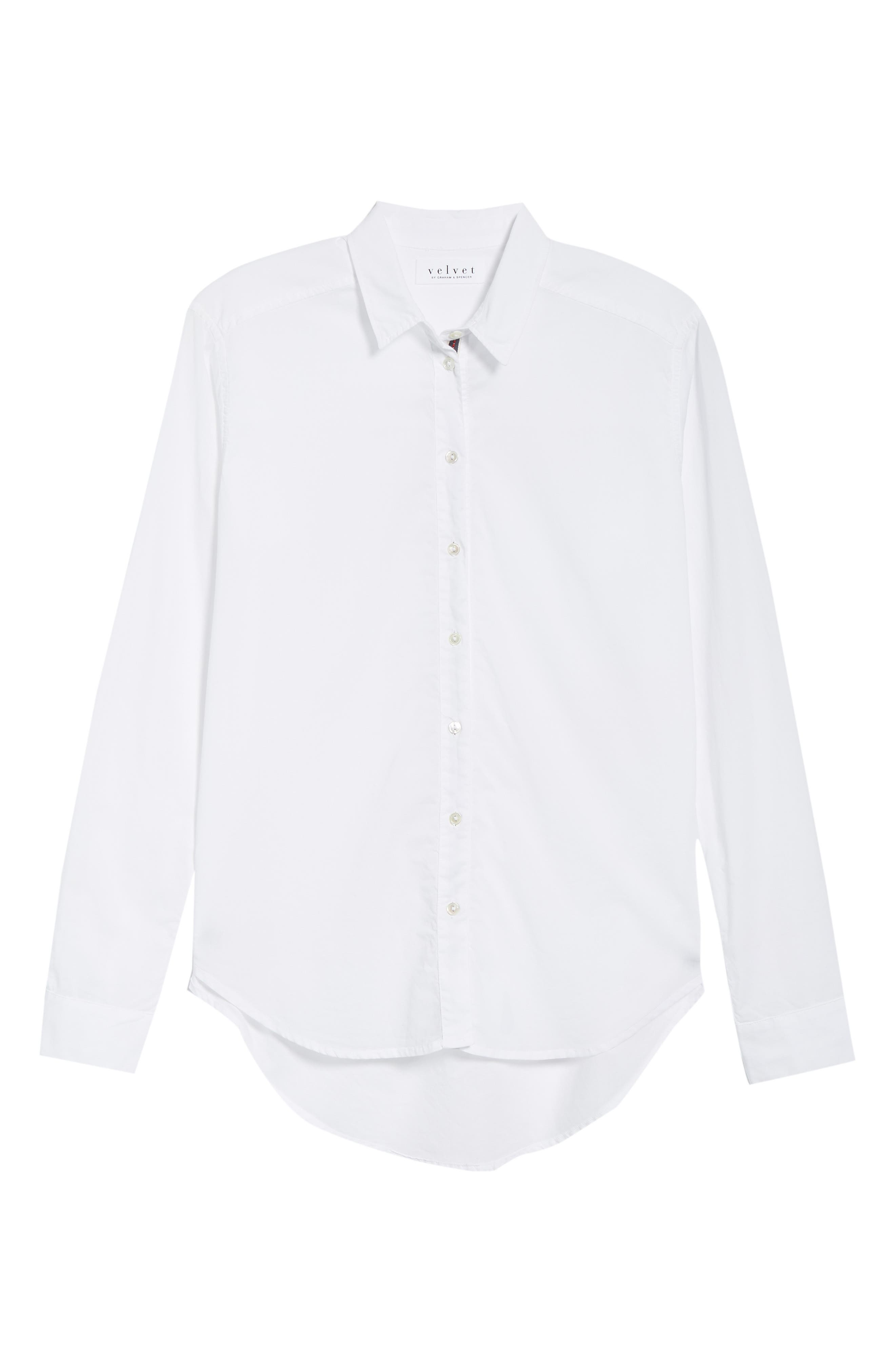 Ribbon Placket Cotton Button Up Shirt,                             Alternate thumbnail 6, color,                             WHITE