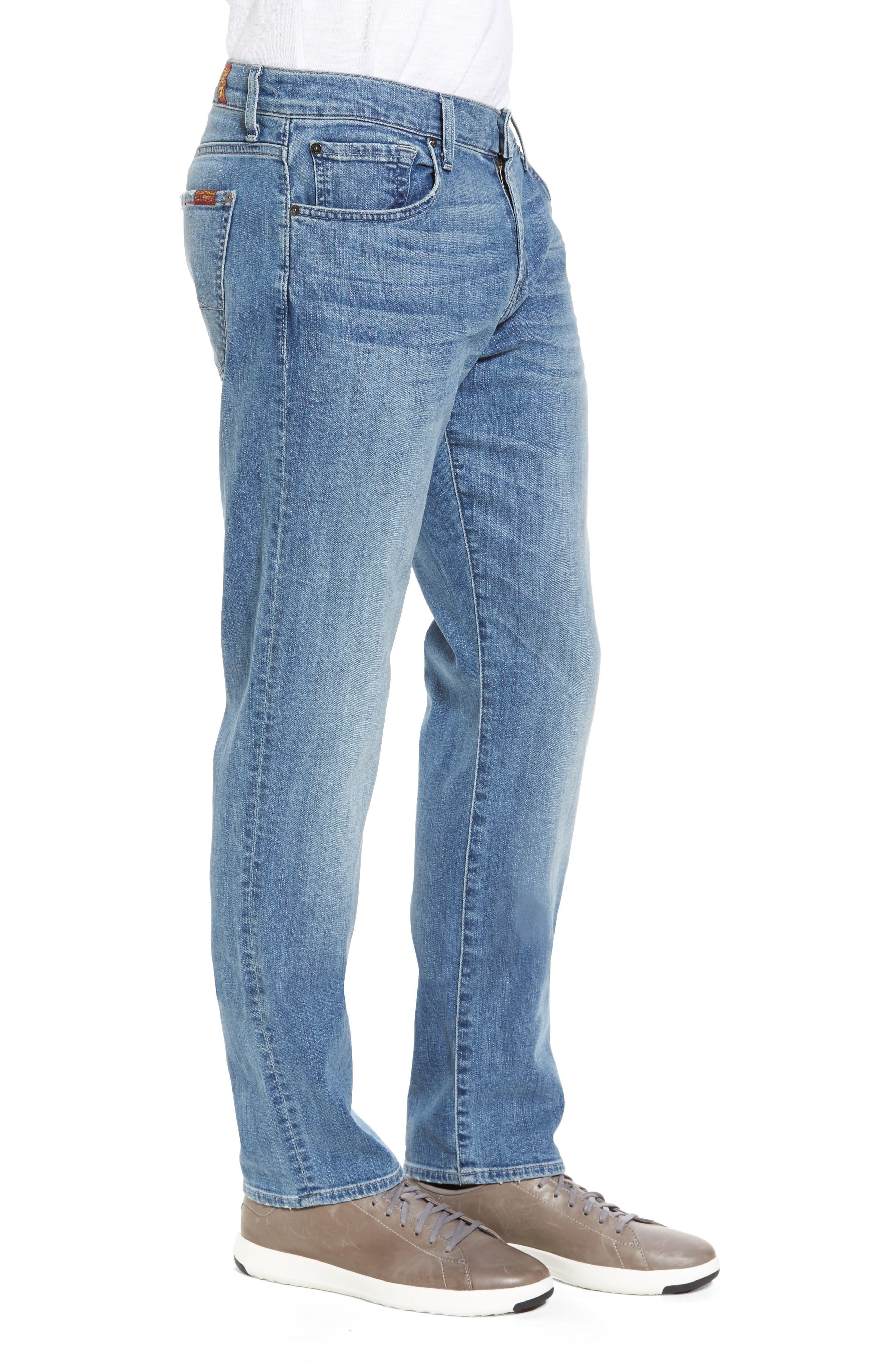 7 For All Mankind Slim Straight Leg Jeans,                             Alternate thumbnail 3, color,                             400