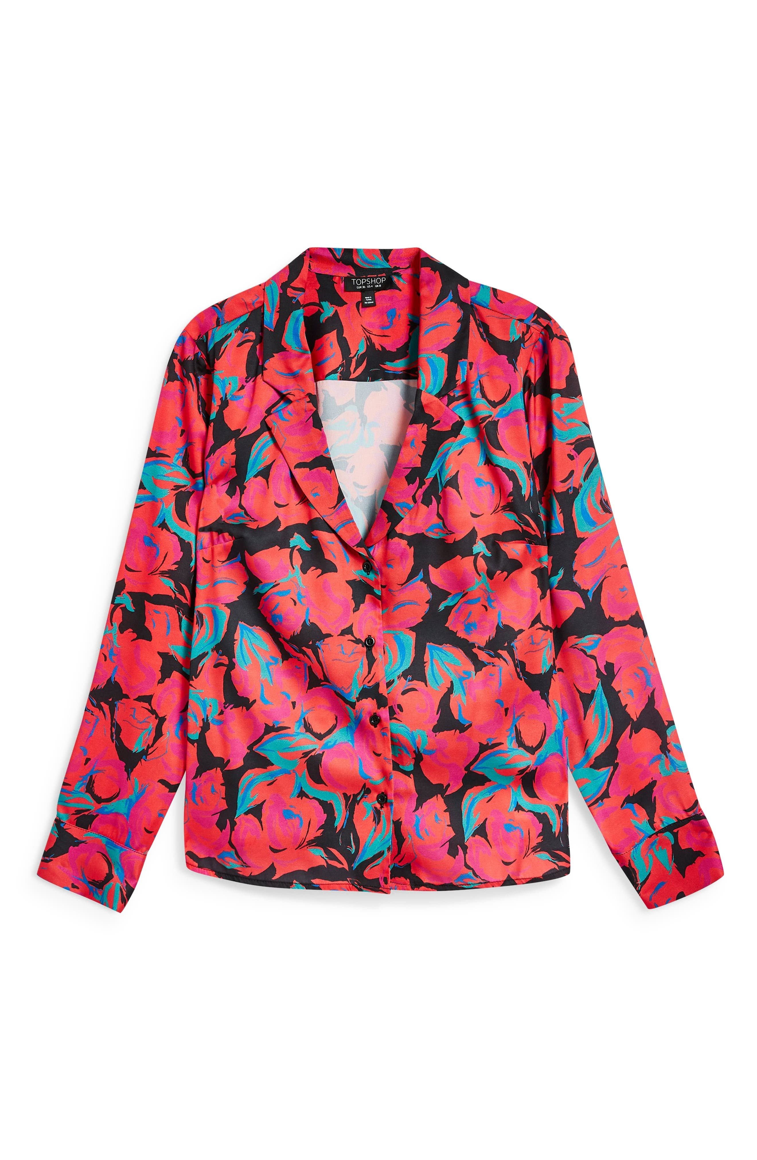 Floral Pajama Style Shirt,                             Alternate thumbnail 5, color,                             RED MULTI