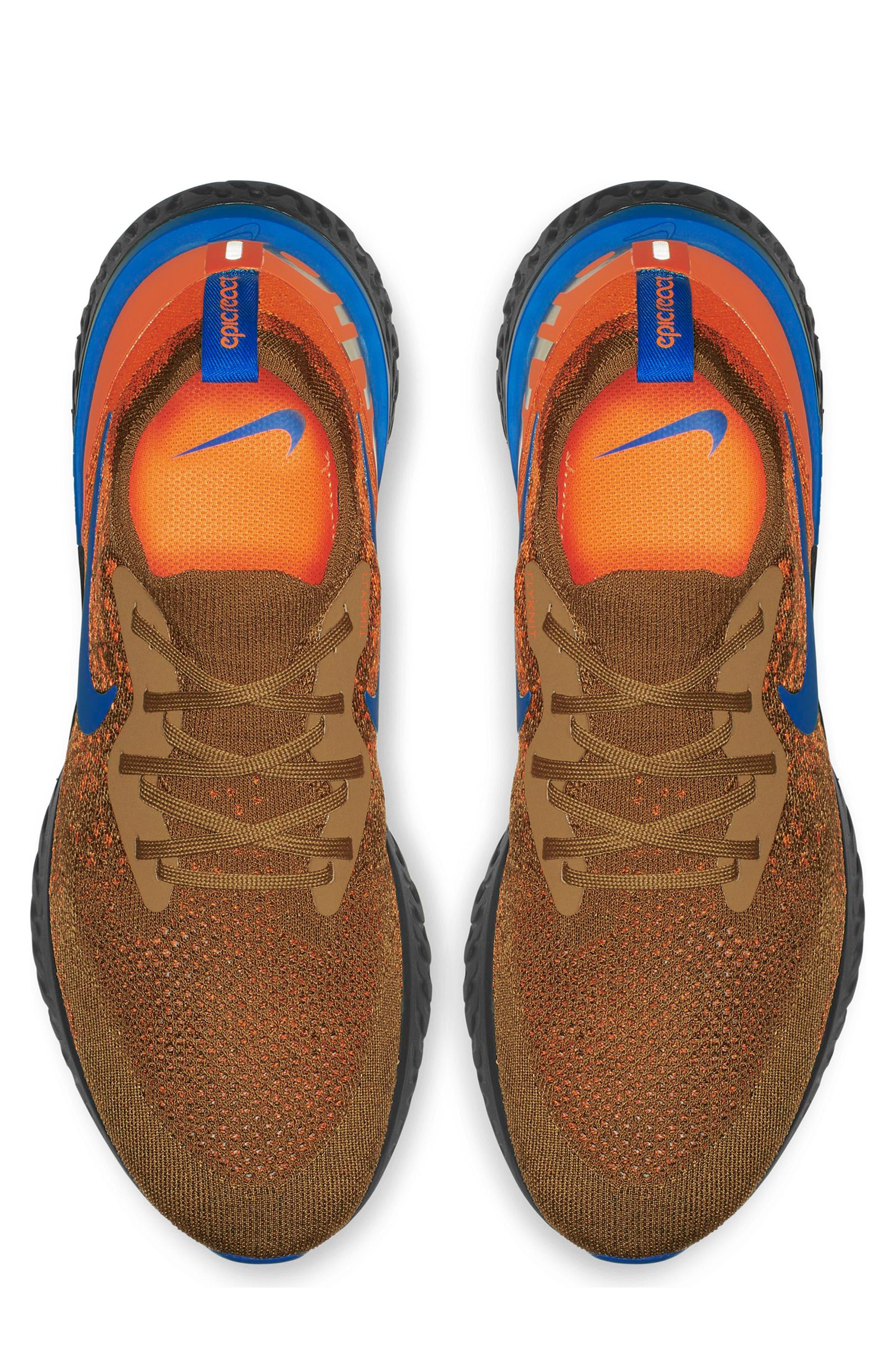 Epic React Flyknit Running Shoe,                             Alternate thumbnail 3, color,                             GOLDEN BEIGE/ BLUE/ ORANGE