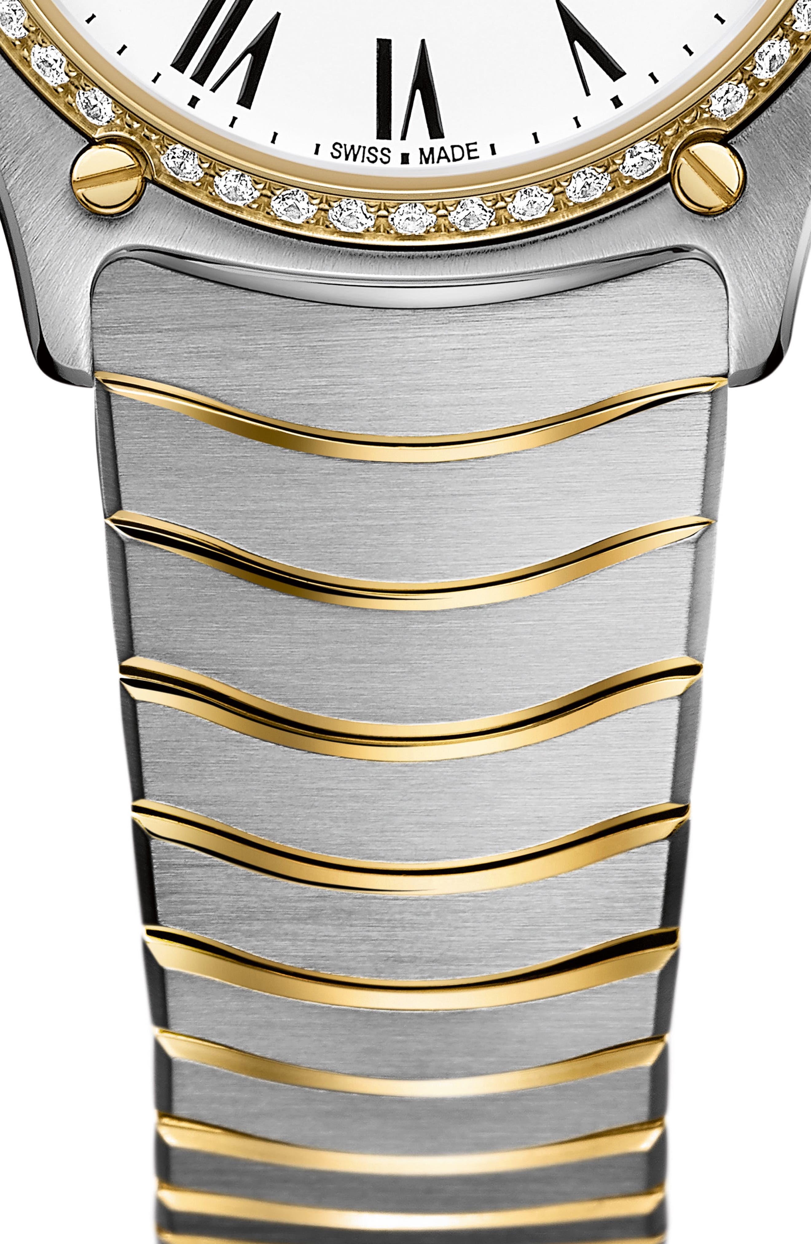 Sport Classic Diamond Bracelet Watch, 29mm,                             Alternate thumbnail 6, color,                             SILVER/ WHITE/ GOLD