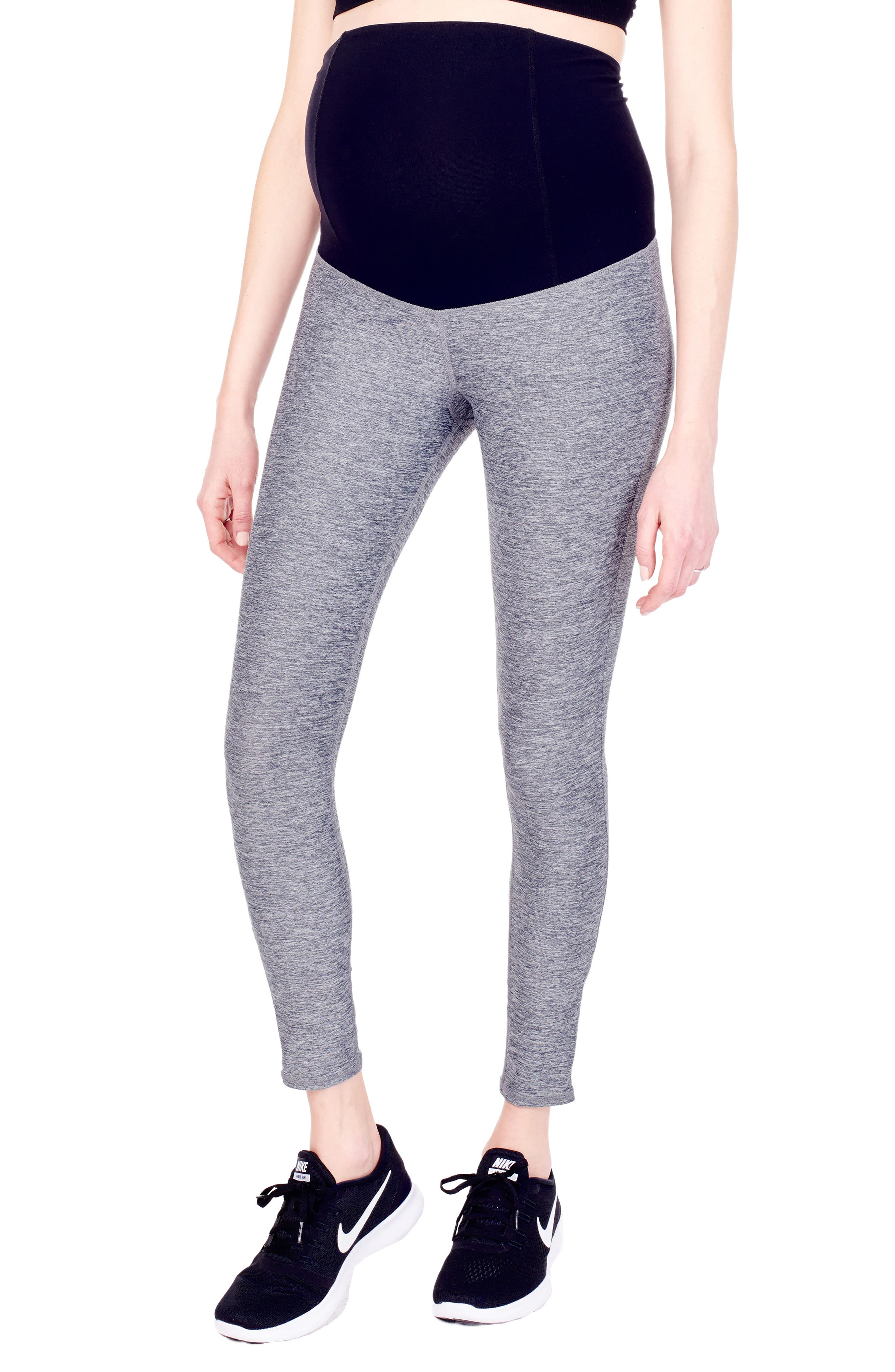 'Active' Maternity Leggings with Crossover Panel,                             Main thumbnail 3, color,